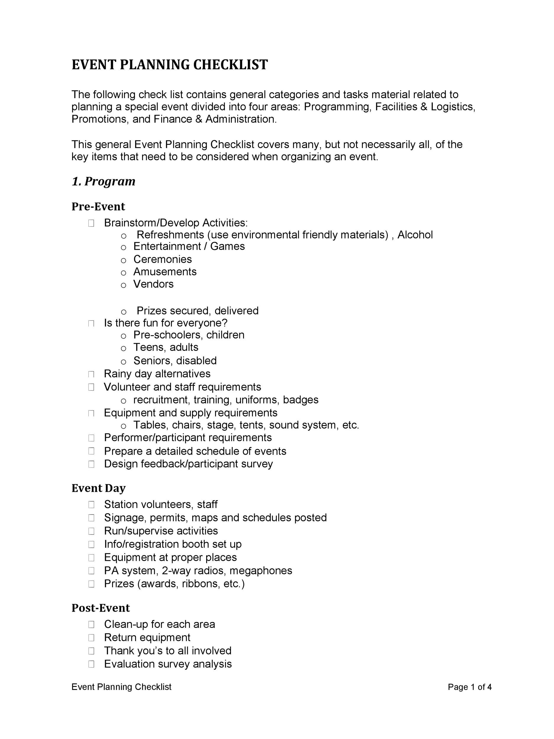 50 Professional Event Planning Checklist Templates ᐅ Template Lab