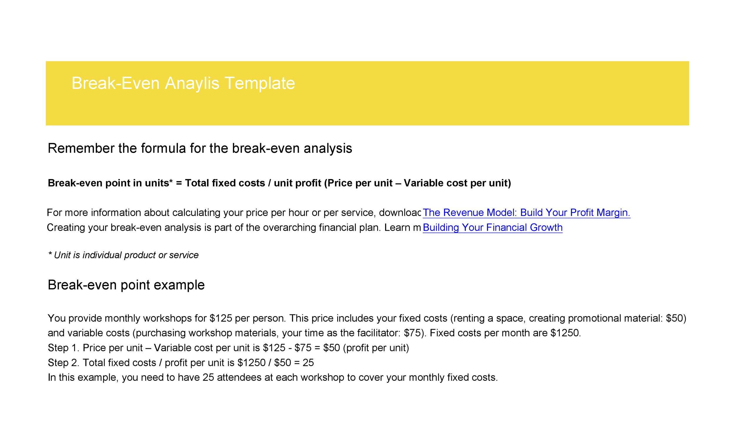 41 Free Break Even Analysis Templates  Excel Spreadsheets - Breakeven Analysis