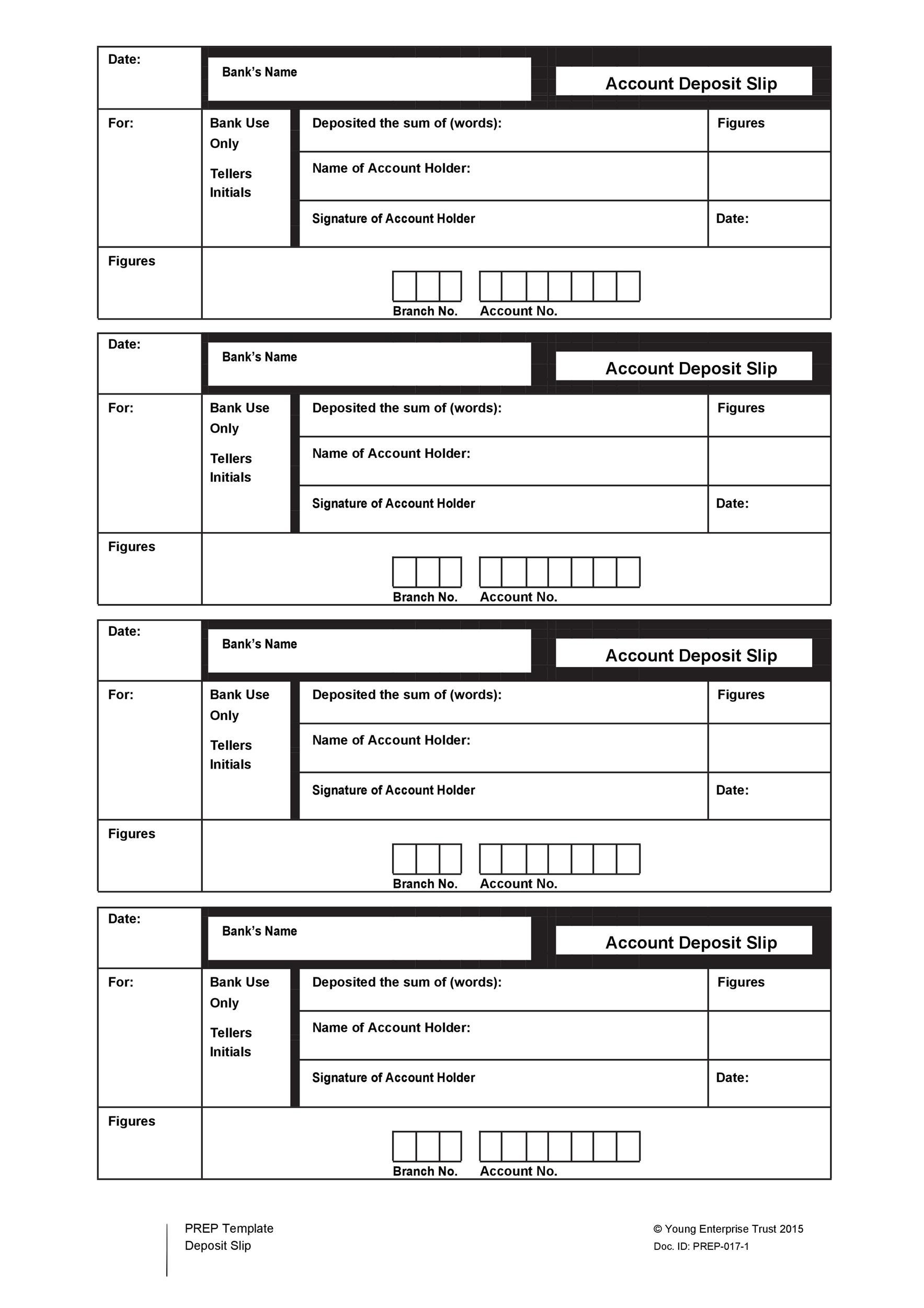 37 Bank Deposit Slip Templates  Examples - Template Lab - bank deposit slip template free