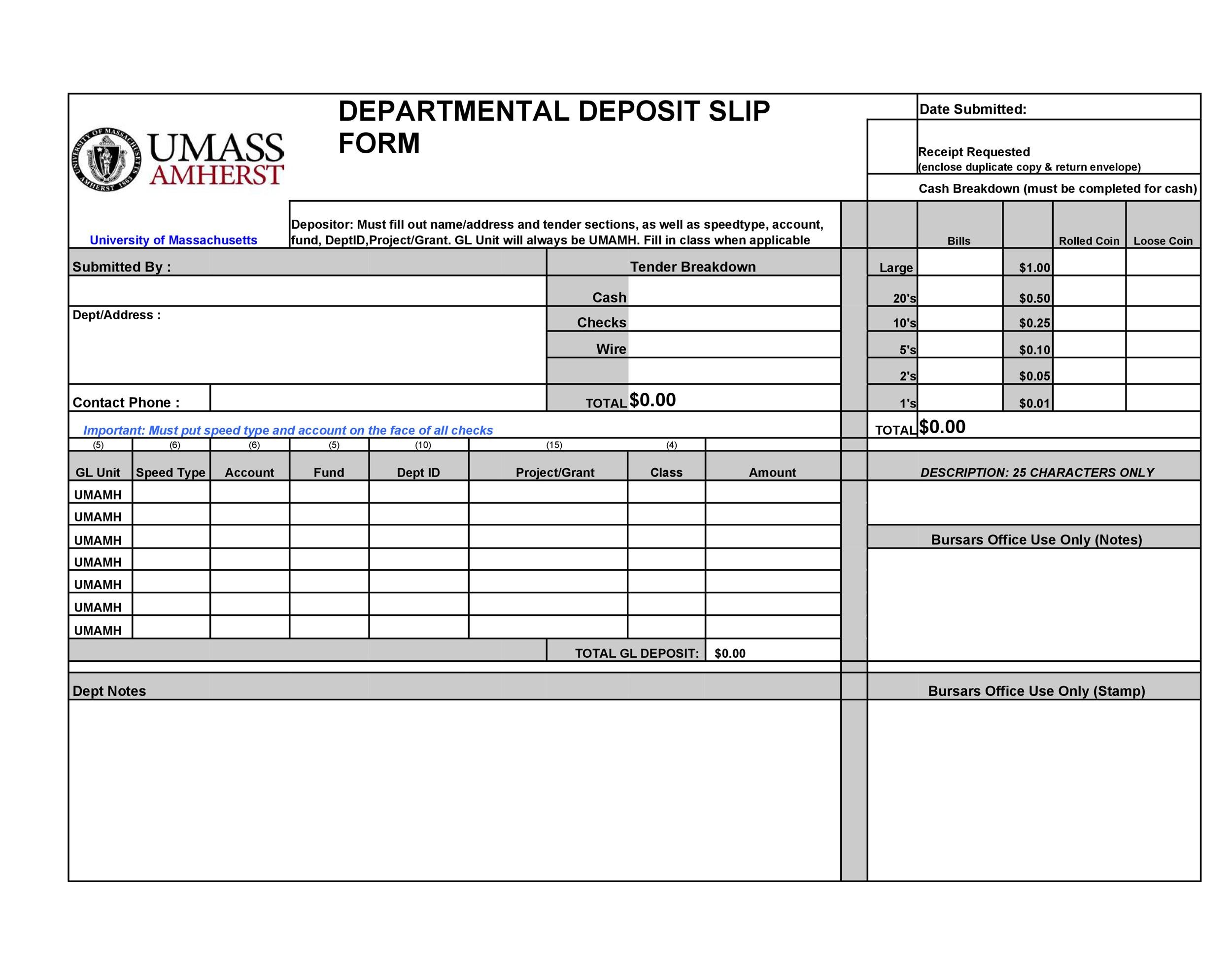 37 Bank Deposit Slip Templates  Examples - Template Lab