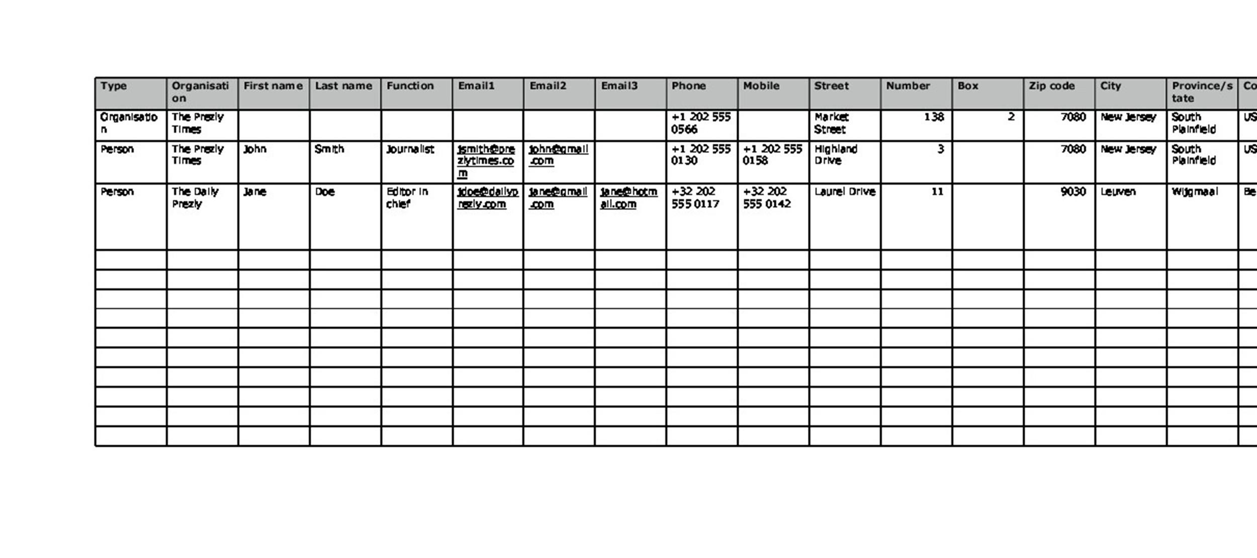 40 Phone  Email Contact List Templates Word, Excel - Template Lab