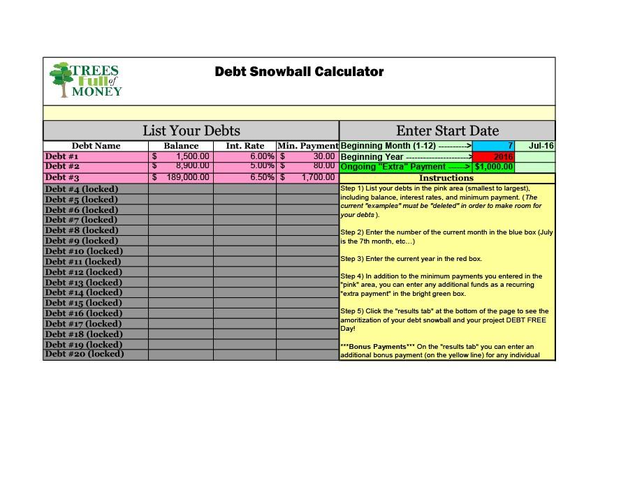 38 Debt Snowball Spreadsheets, Forms  Calculators ❄❄❄
