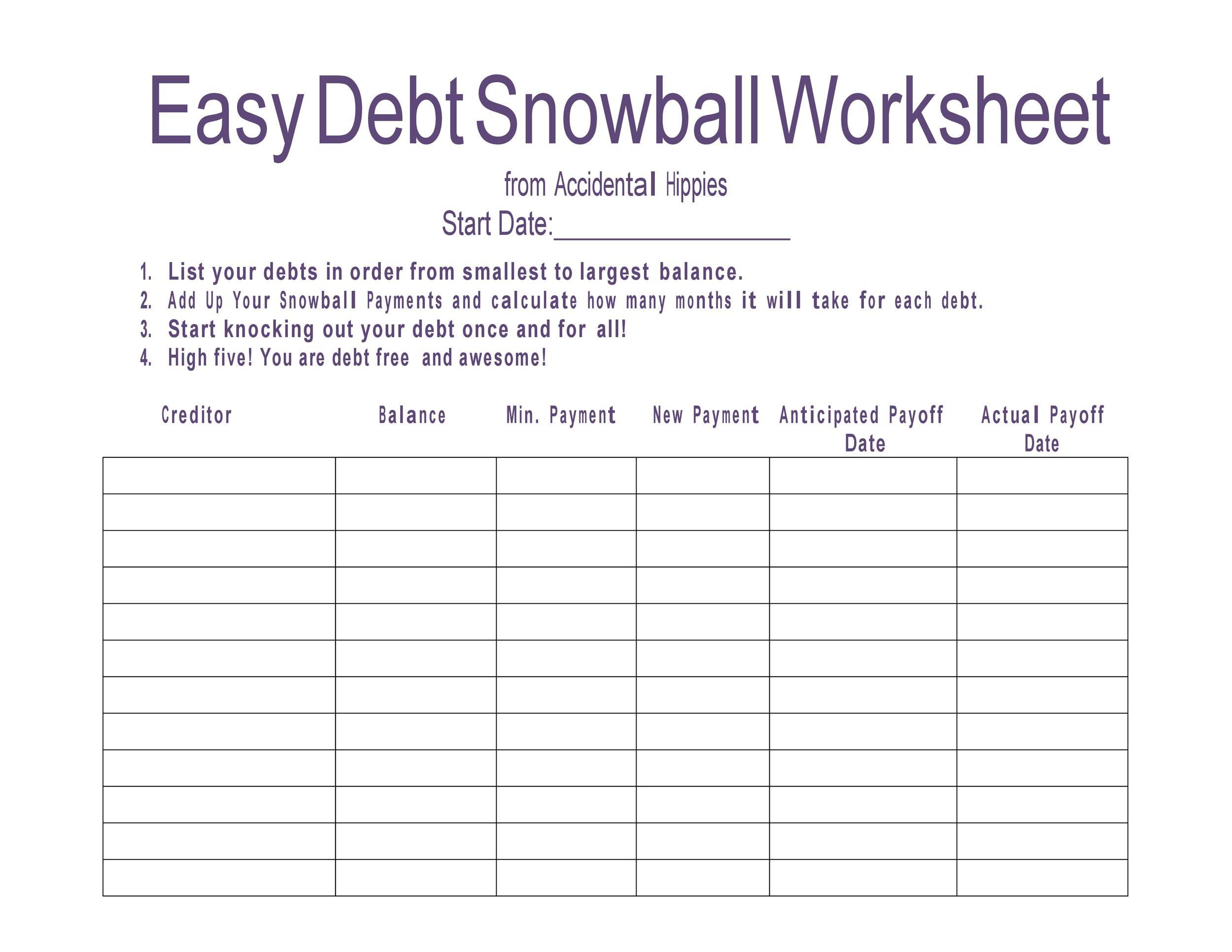 debt snowball sheet