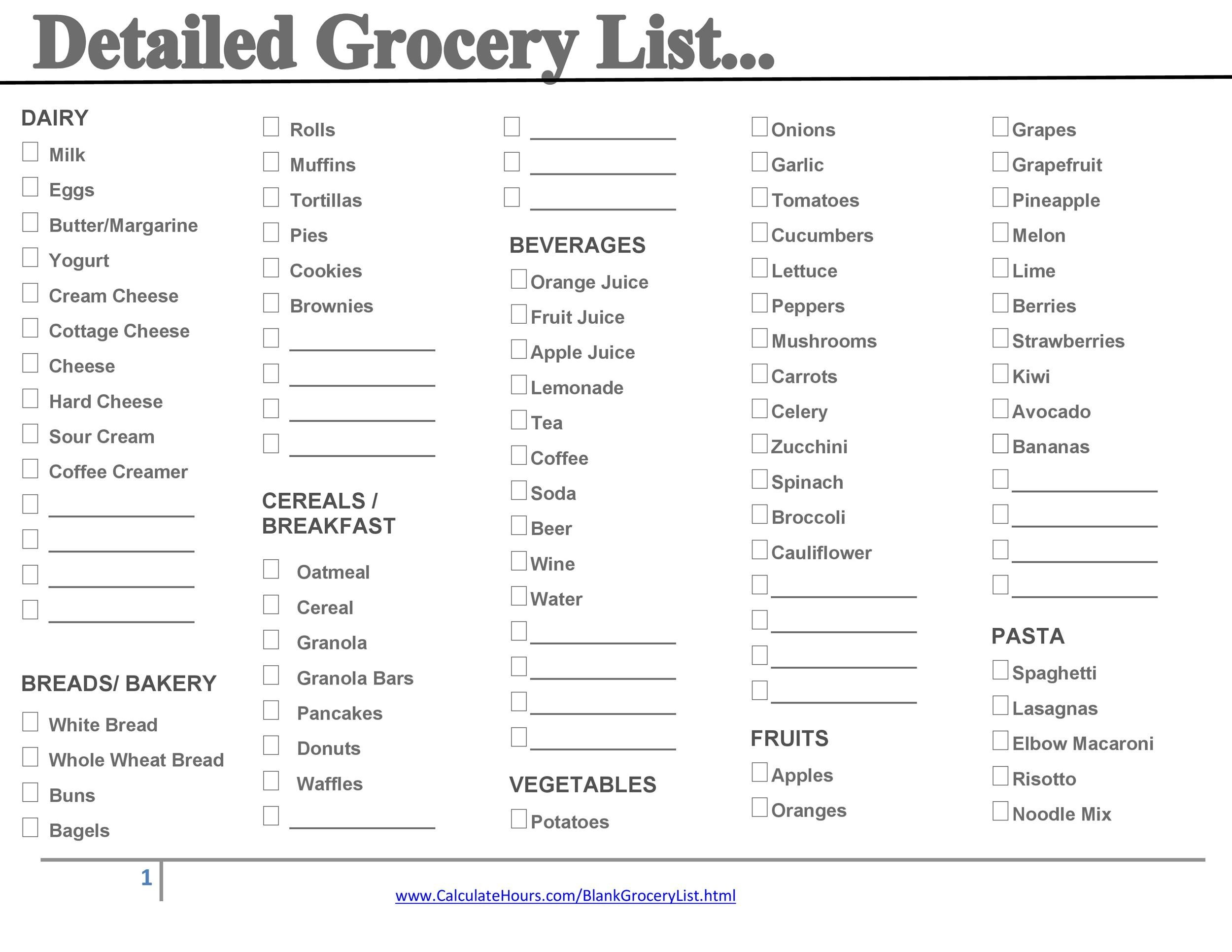 40+ Printable Grocery List Templates (Shopping List) ᐅ Template Lab