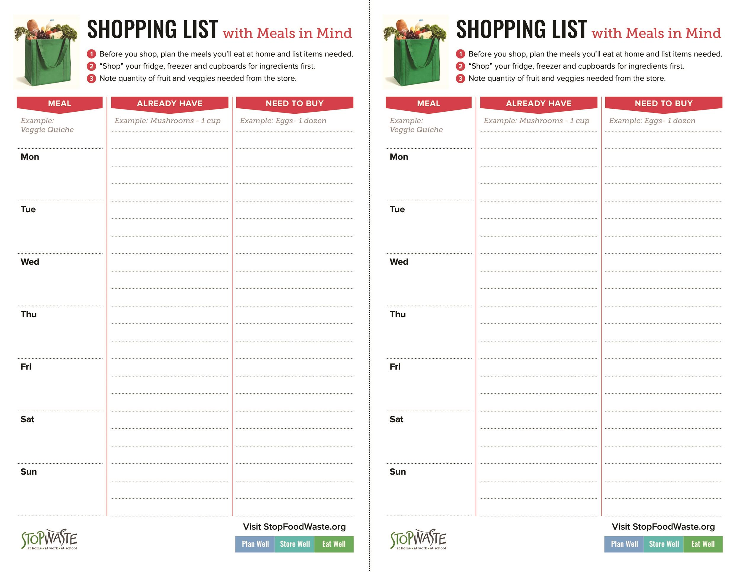 40+ Printable Grocery List Templates (Shopping List) - Template Lab - printable shopping list with categories