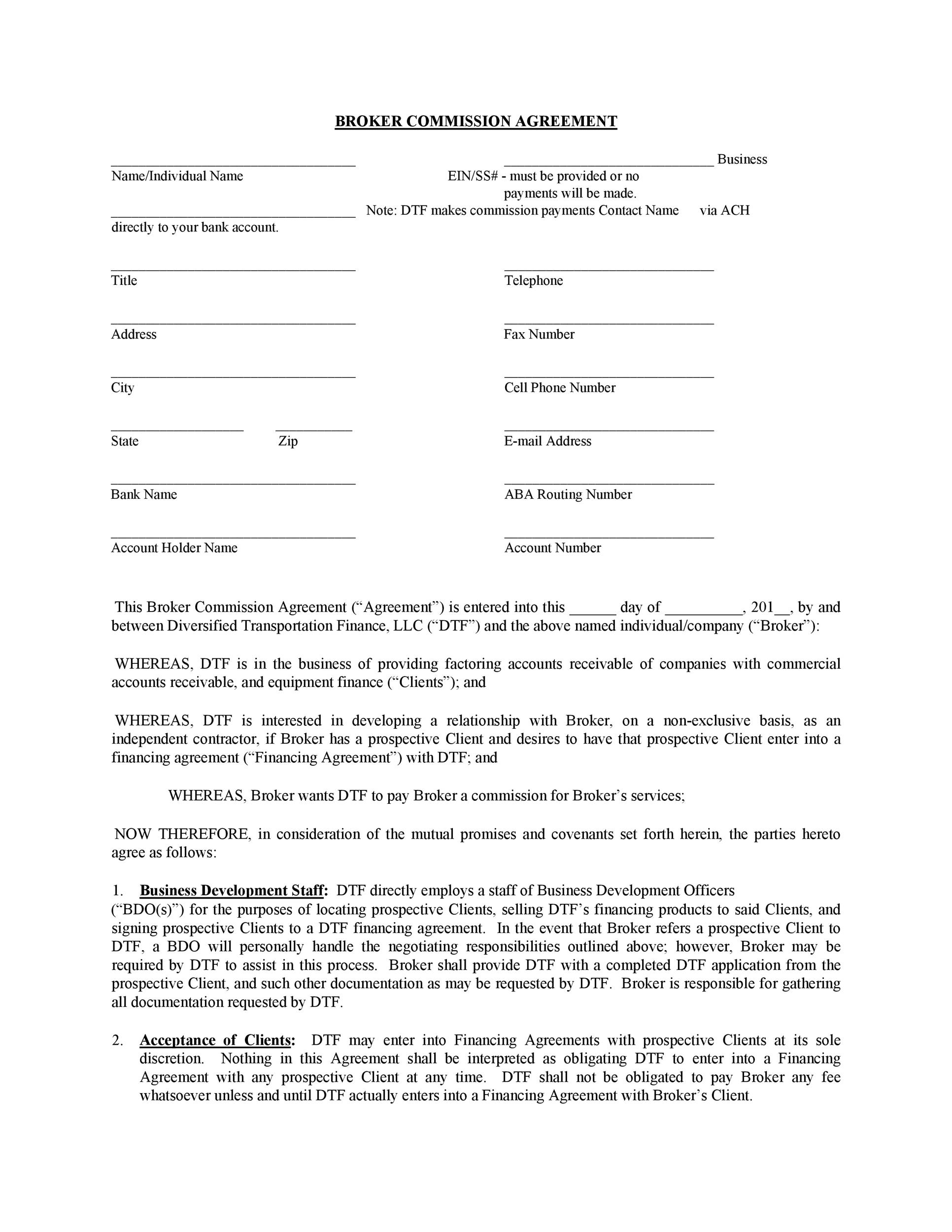 Commission Fee Agreement Template Images - Template Design Ideas - commission contract template