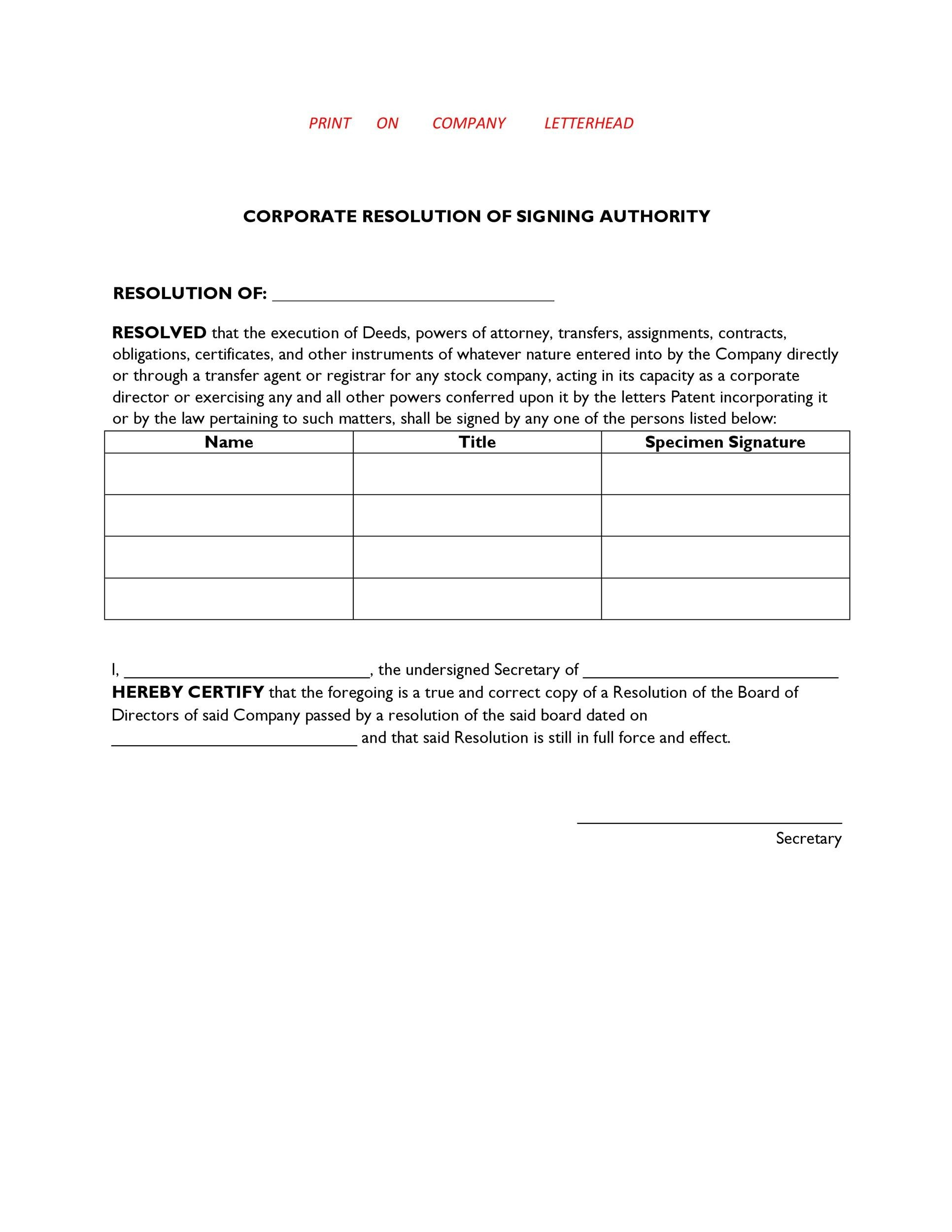 37 Printable Corporate Resolution Forms ᐅ Template Lab