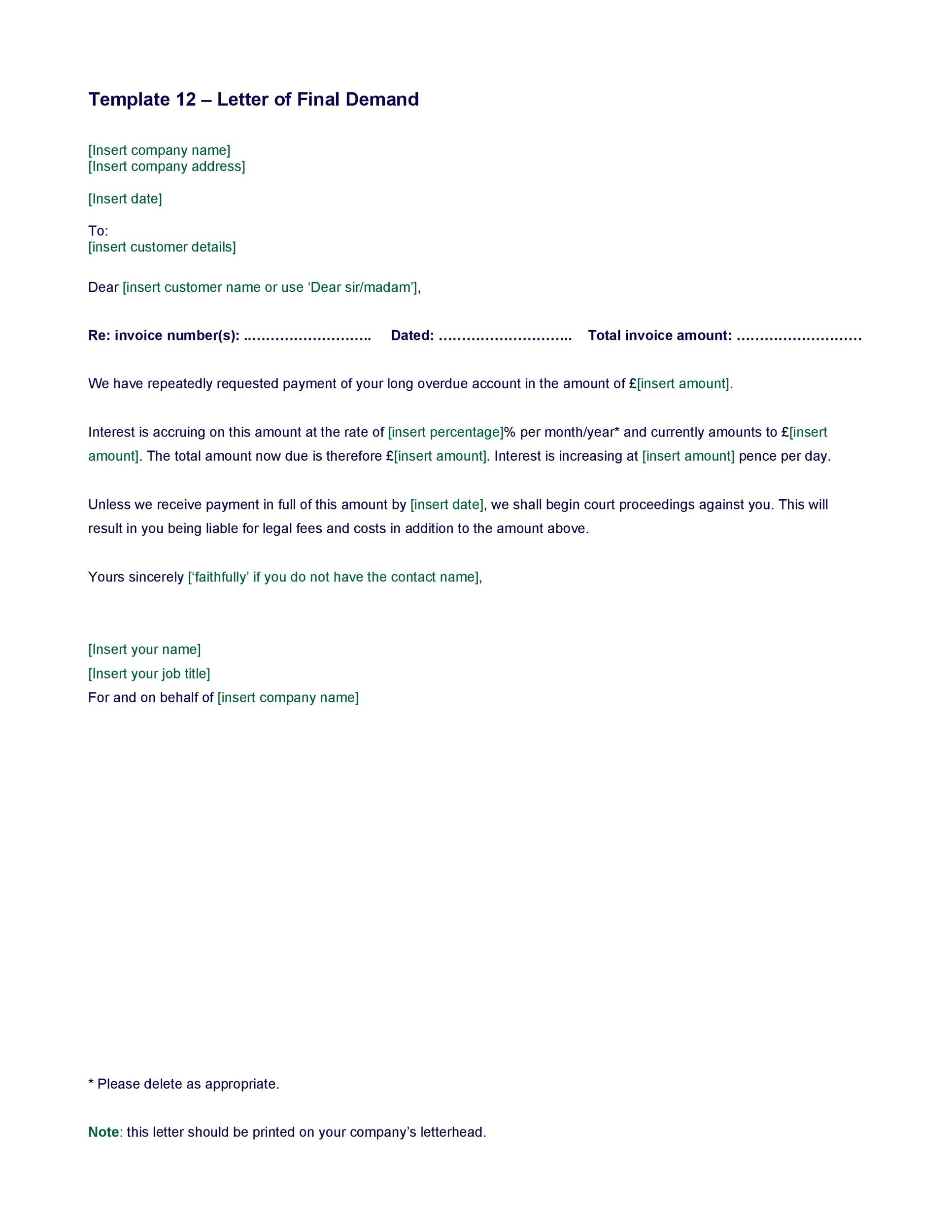 40 Best Demand Letter Templates (Free Samples) ᐅ Template Lab
