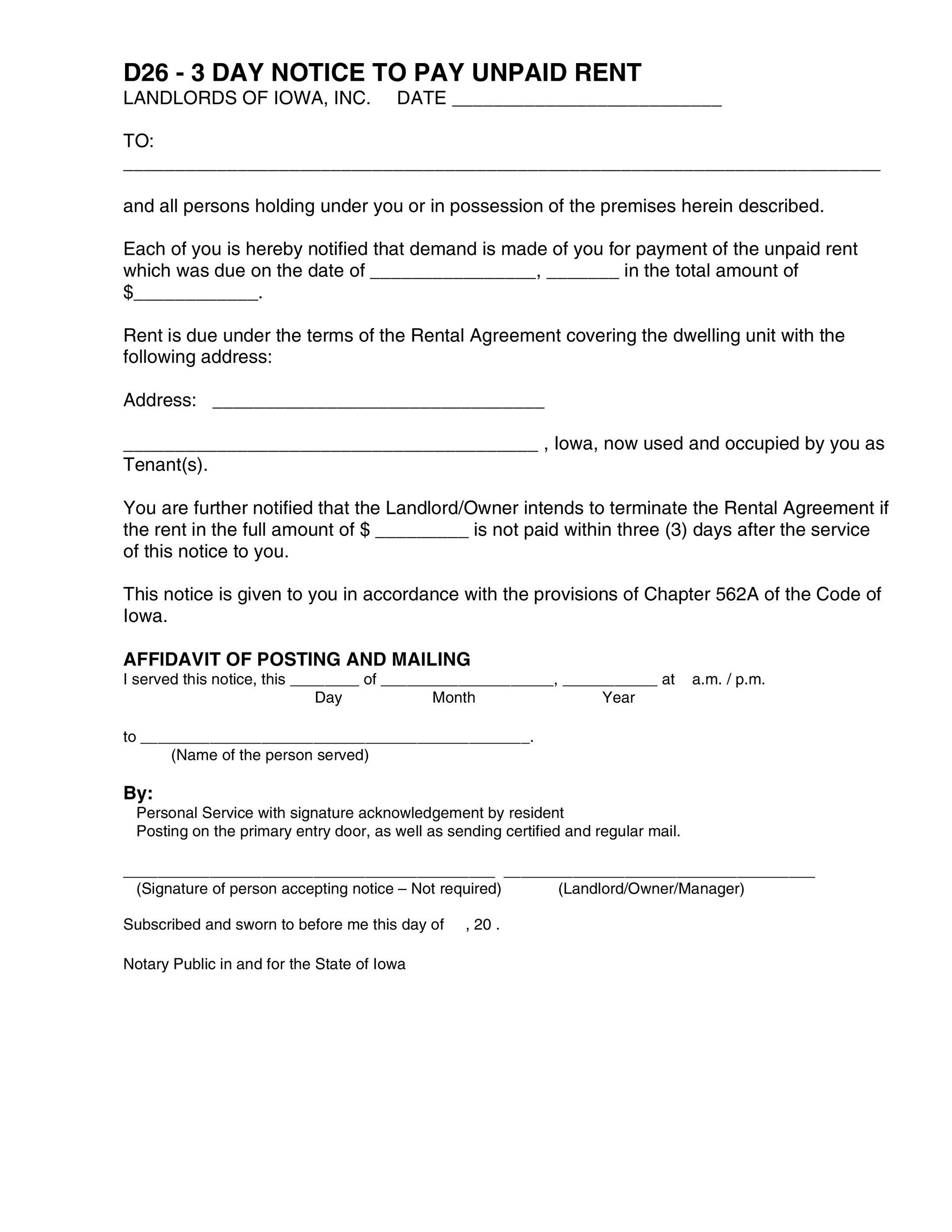34 Printable Late Rent Notice Templates ᐅ Template Lab