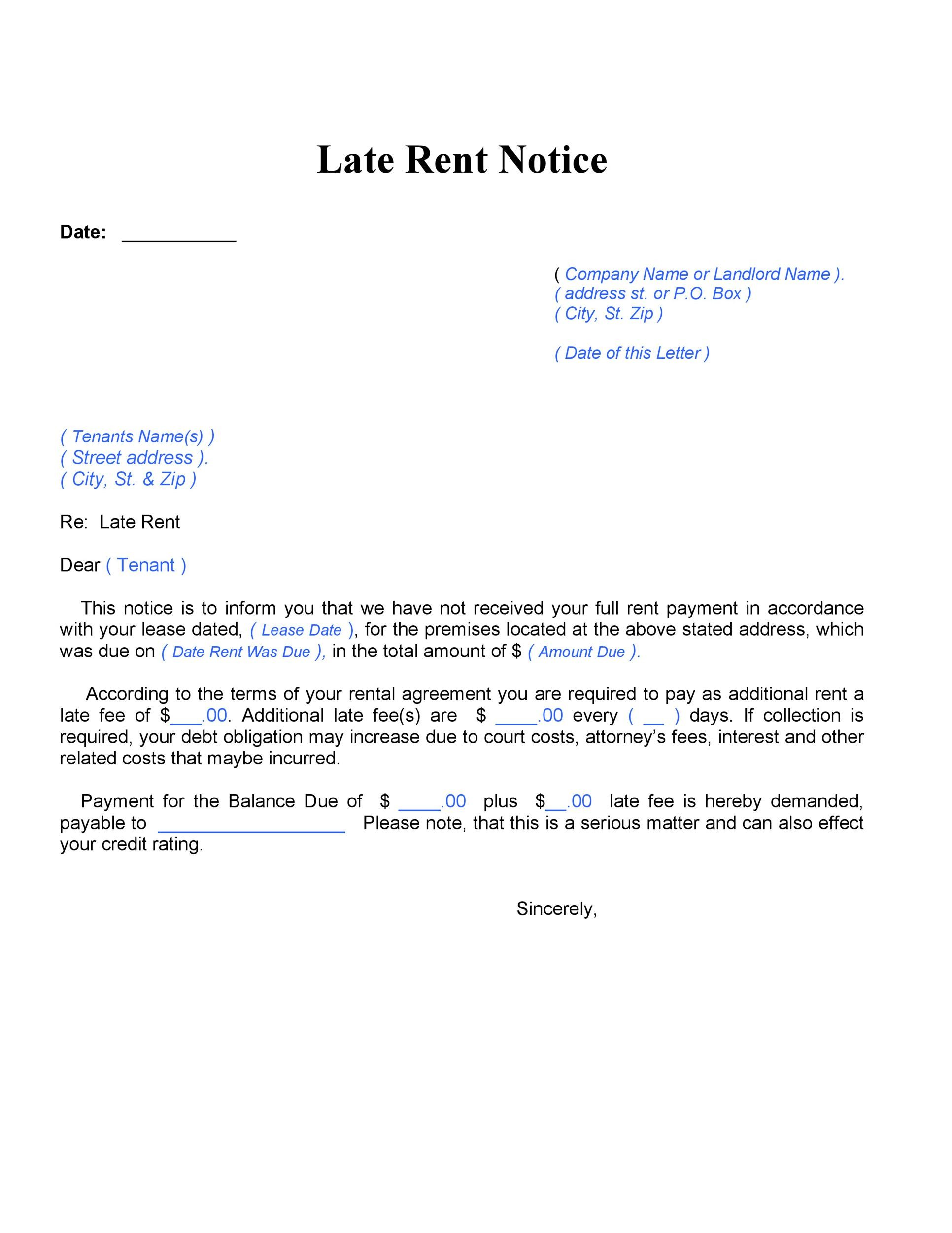 34 Printable Late Rent Notice Templates - Template Lab