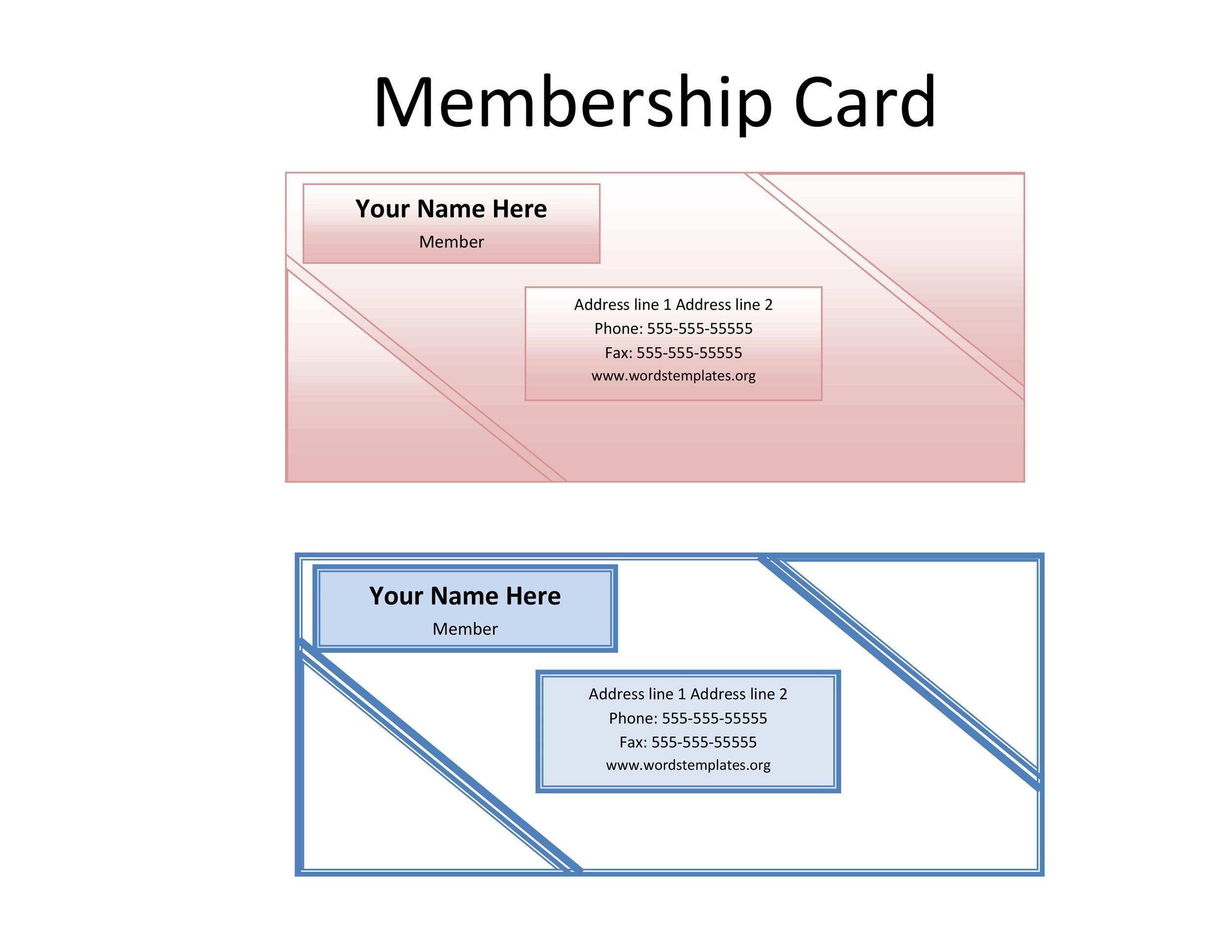 25 Cool Membership Card Templates  Designs (MS Word) ᐅ Template Lab