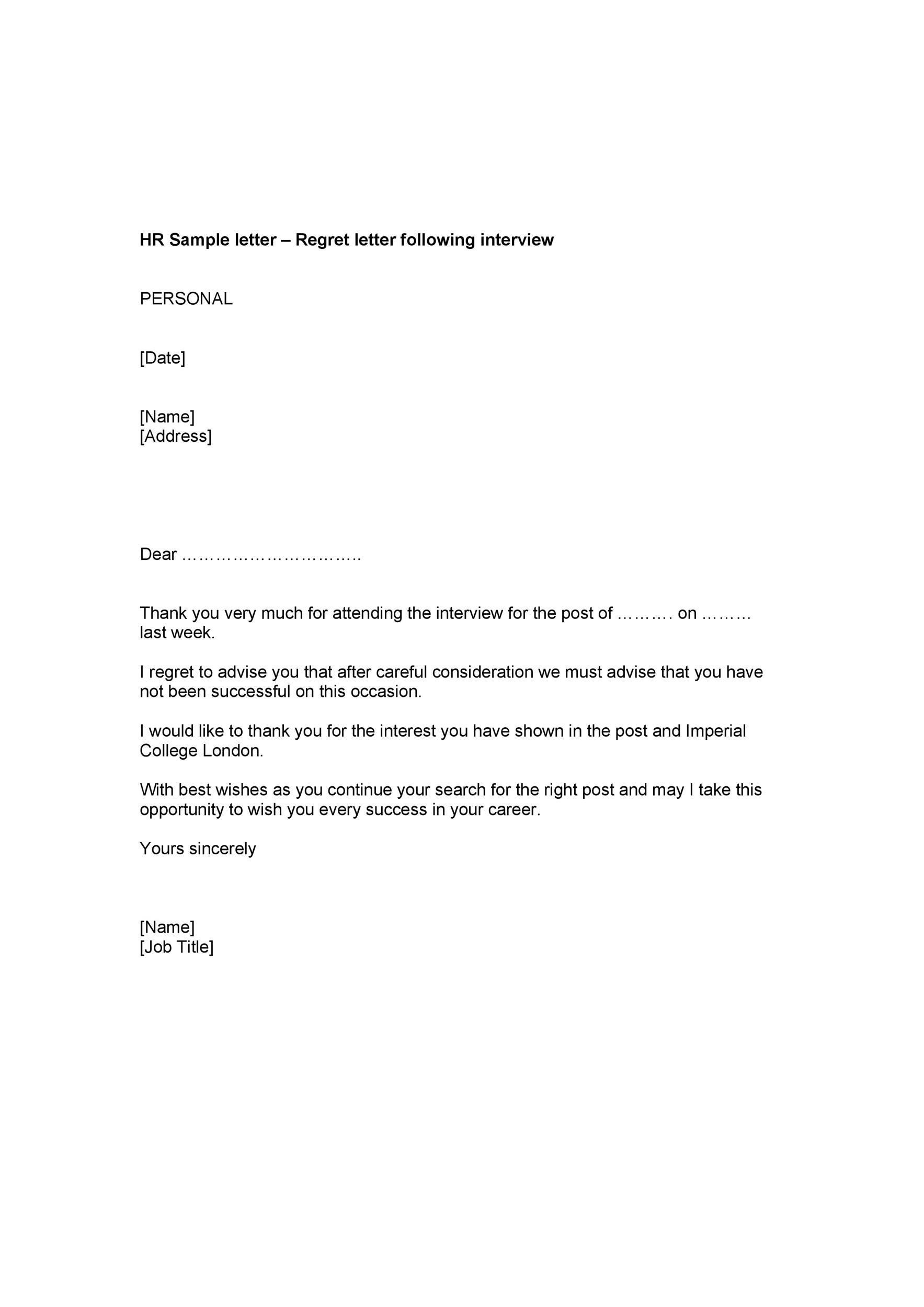 39 Job Rejection Letter Templates  Samples ᐅ Template Lab