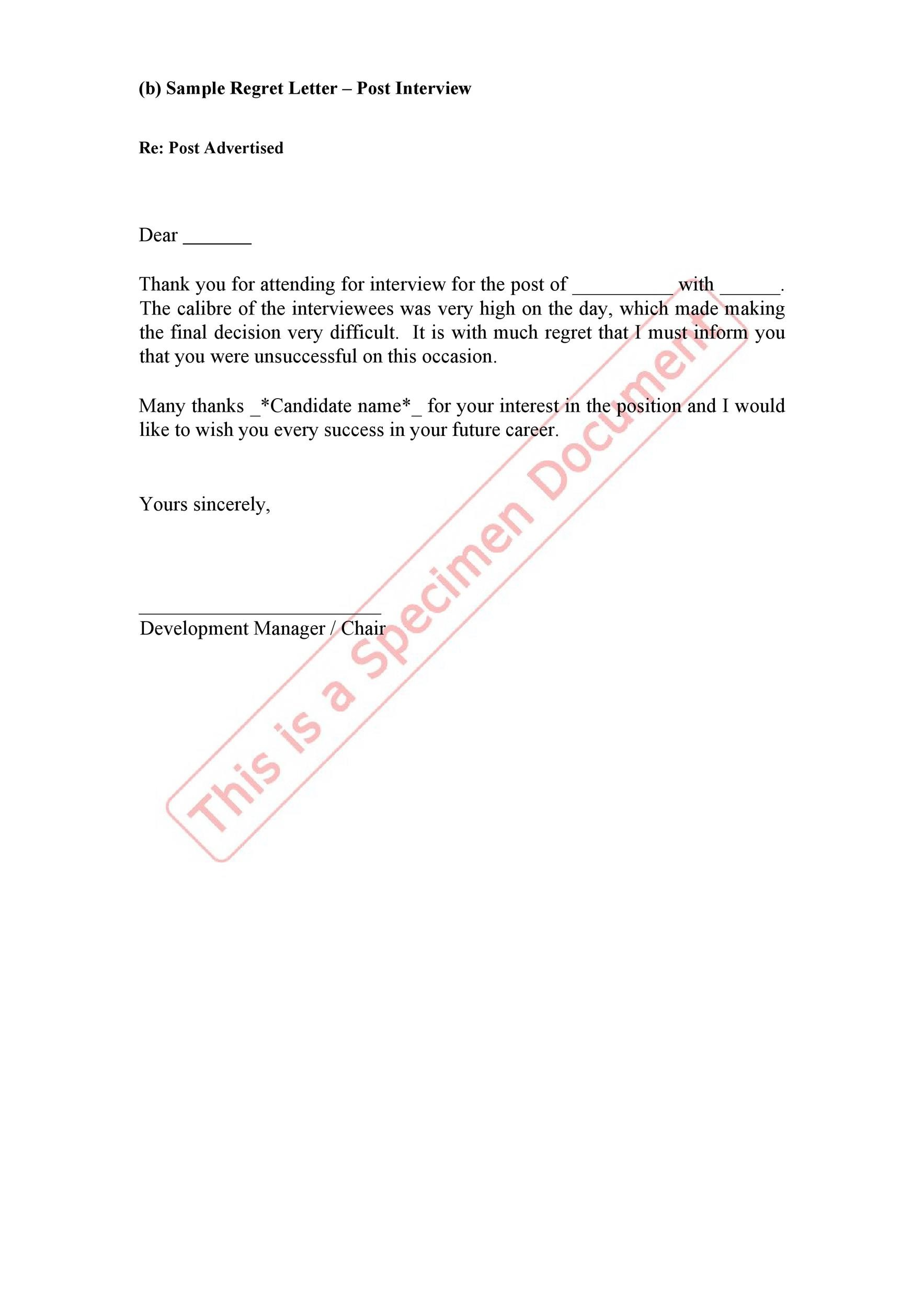 39 Job Rejection Letter Templates  Samples - Template Lab