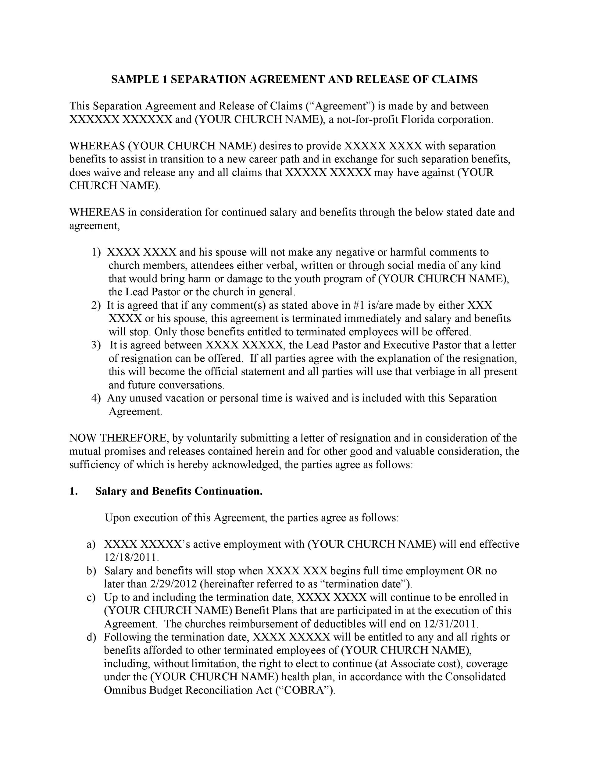 43 Official Separation Agreement Templates / Letters / Forms - separation letter template