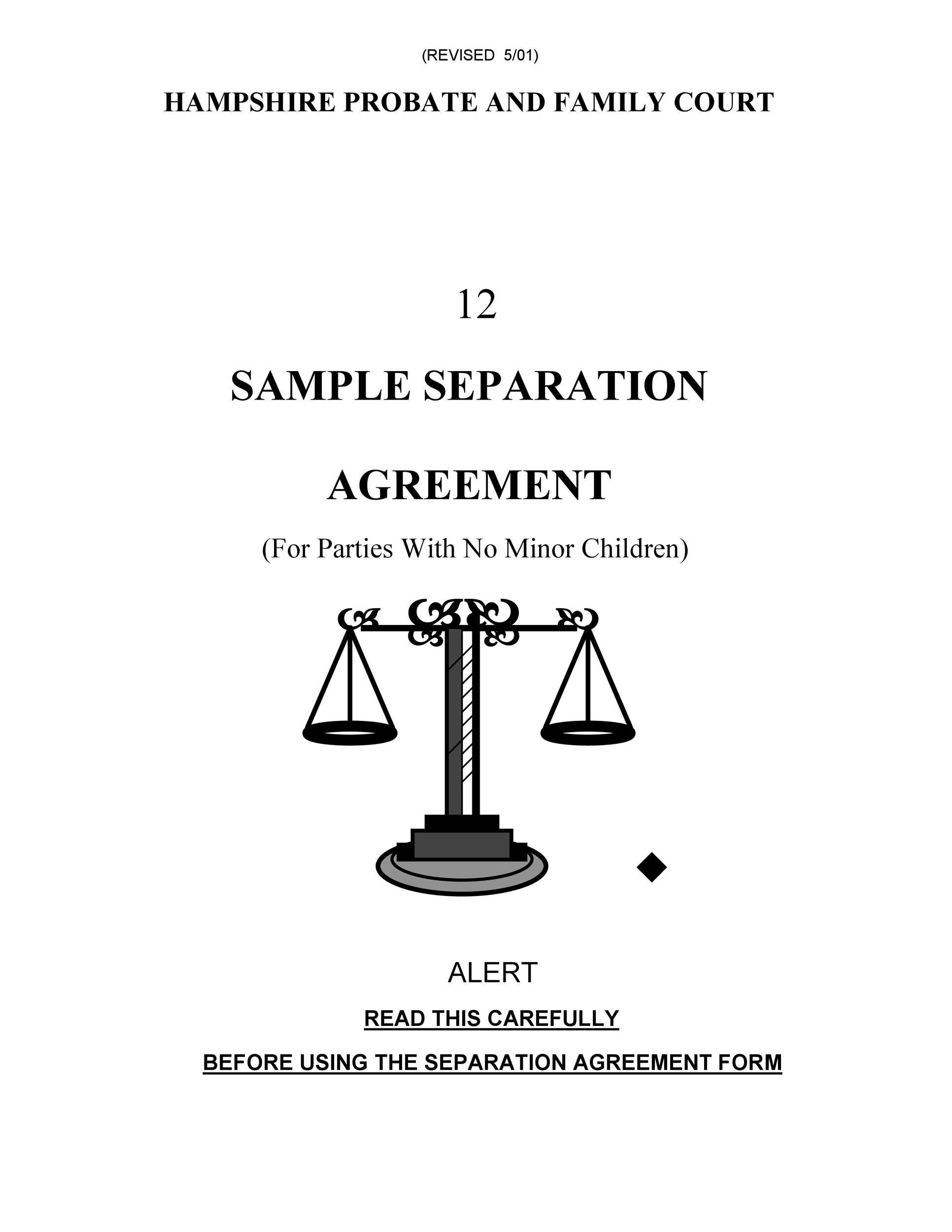 Separation Agreement Form Freeletterndby