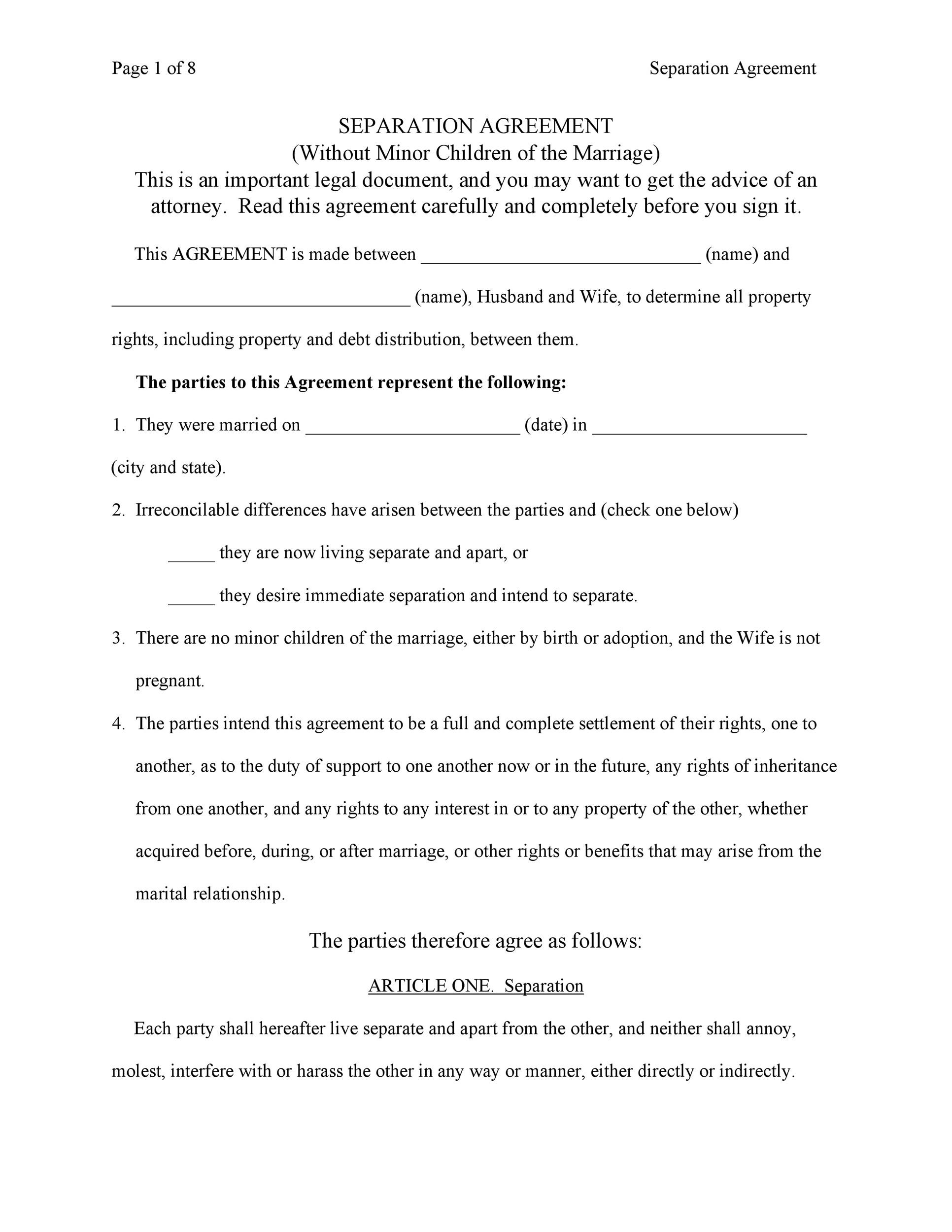 43 Official Separation Agreement Templates / Letters / Forms ᐅ
