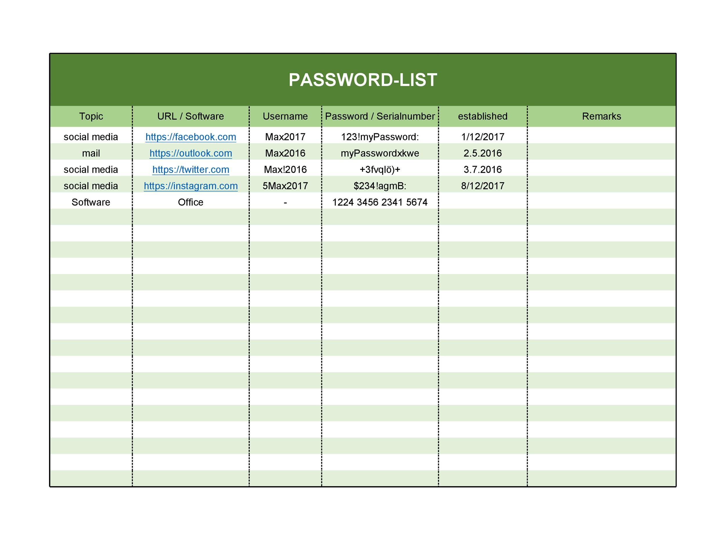 39 Best Password List Templates (Word, Excel  PDF) ᐅ Template Lab