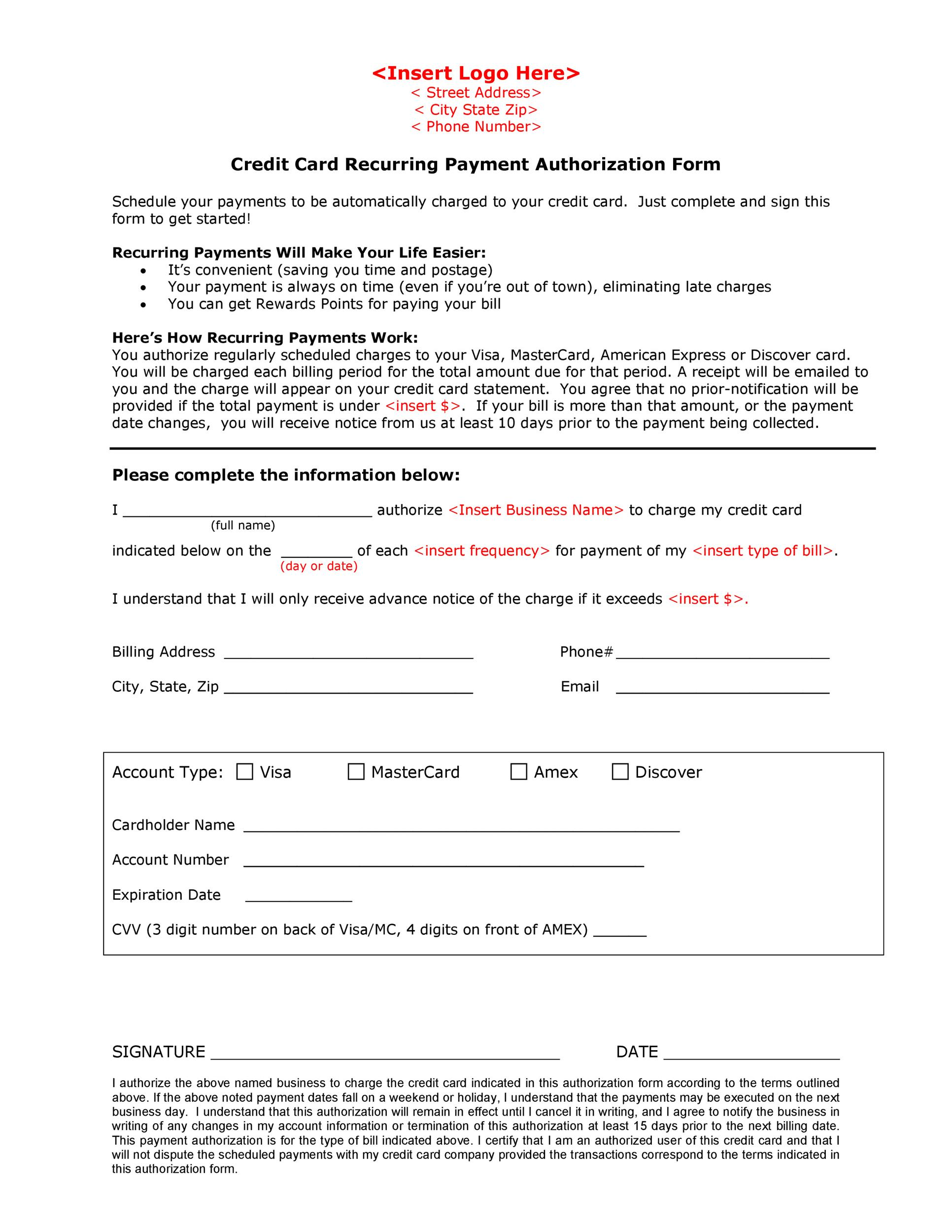 41 Credit Card Authorization Forms Templates {Ready-to-Use} - credit card authorization forms