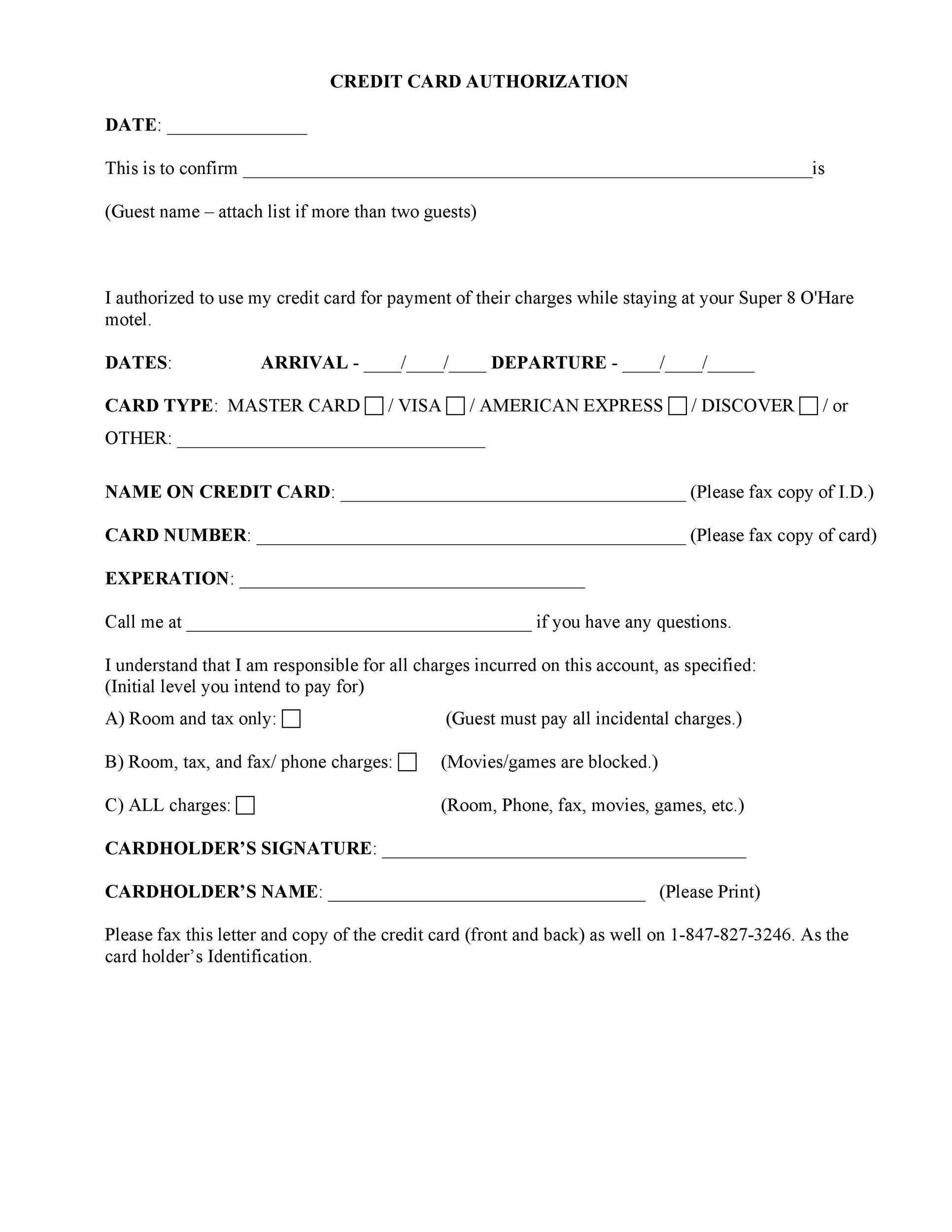 41 Credit Card Authorization Forms Templates {Ready-to-Use} - fax authorization form