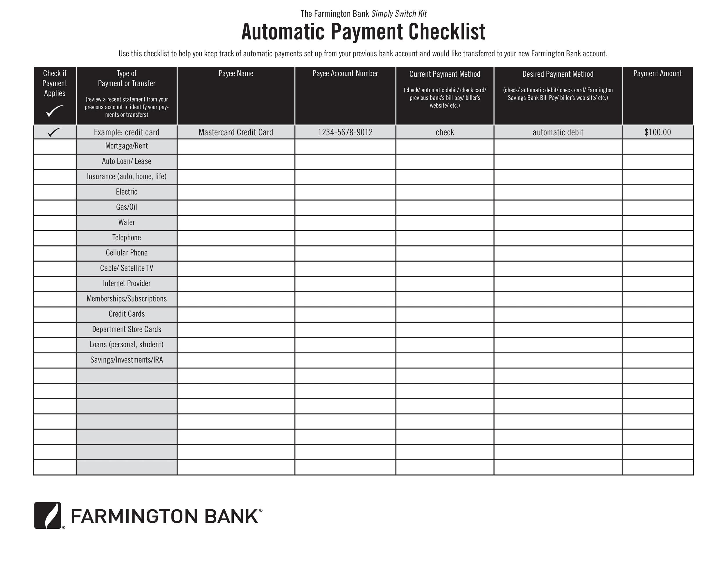 32 Free Bill Pay Checklists  Bill Calendars (PDF, Word  Excel)