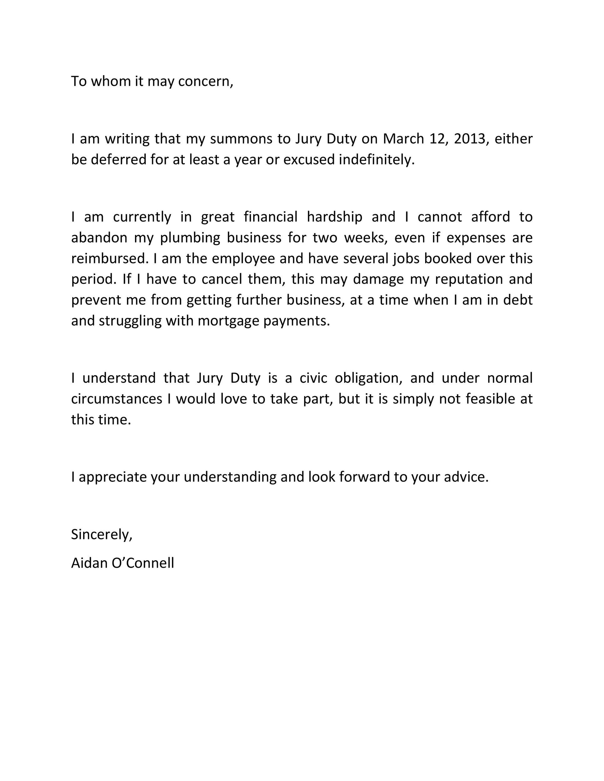 33 Best Jury Duty Excuse Letters +Tips ᐅ Template Lab