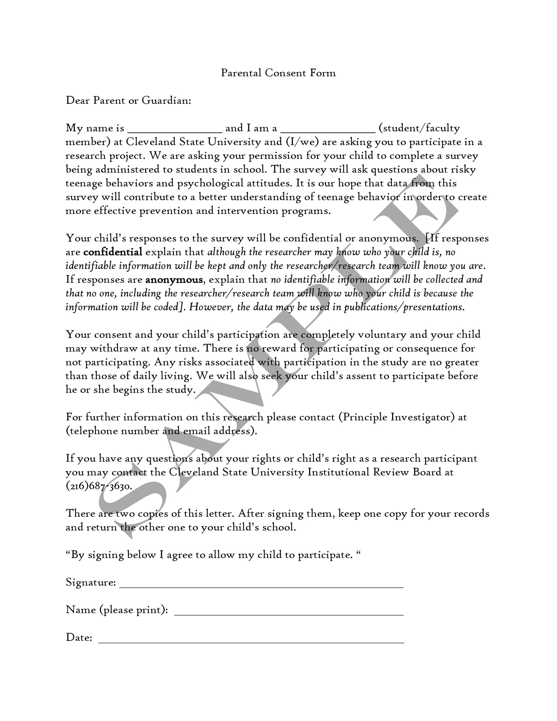 50 Printable Parental Consent Form  Templates ᐅ Template Lab