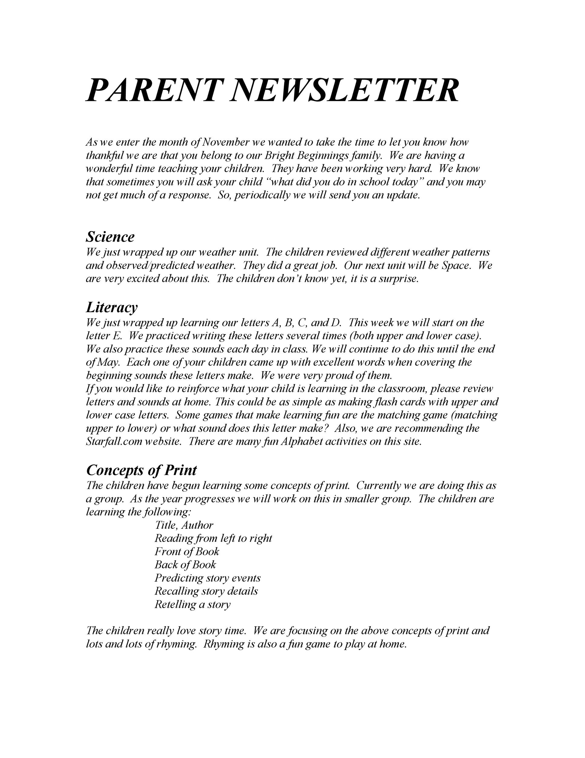 50 Creative Preschool Newsletter Templates (+Tips) ᐅ Template Lab