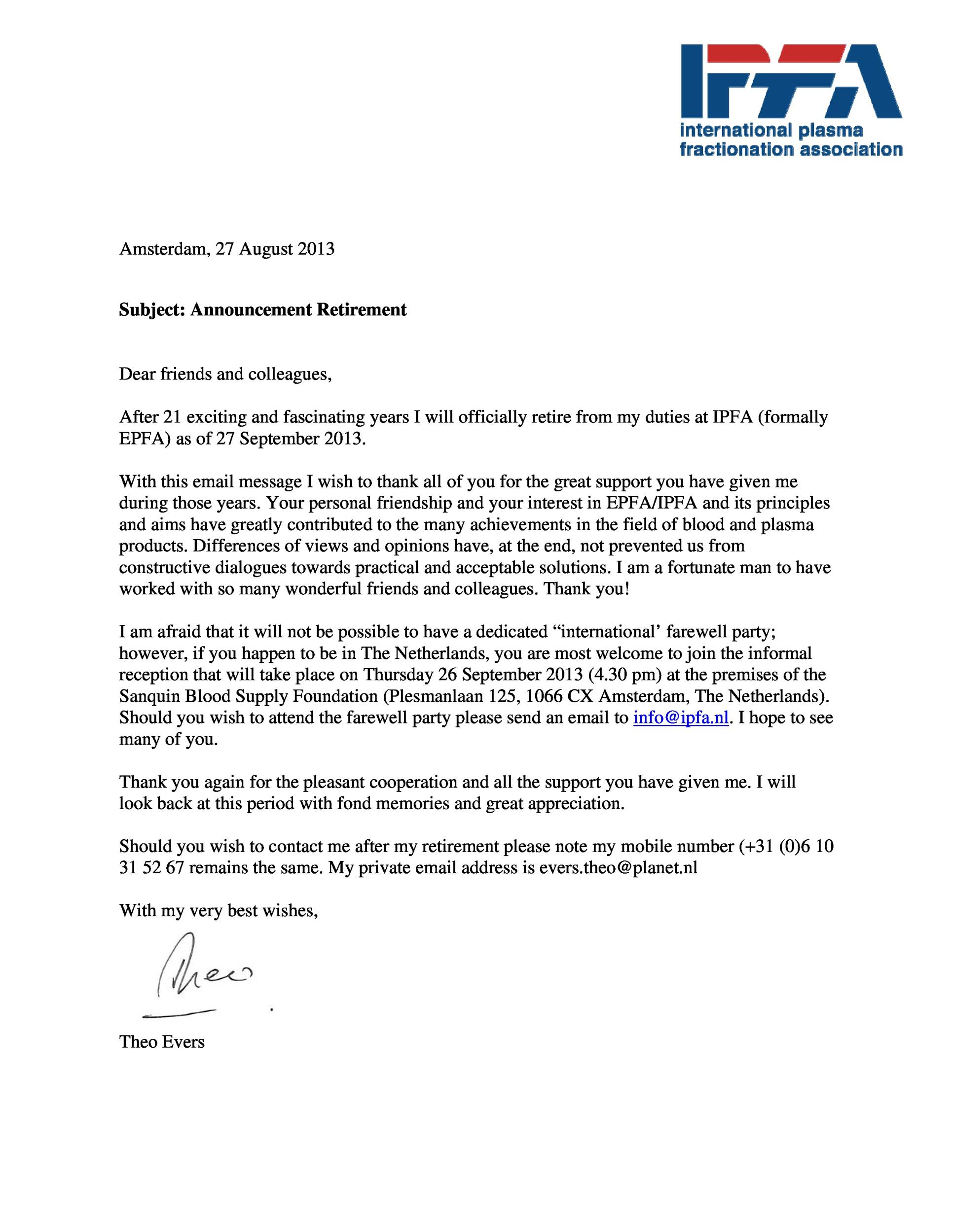 38 Professional Retirement Announcement Letters  Emails ᐅ Template Lab
