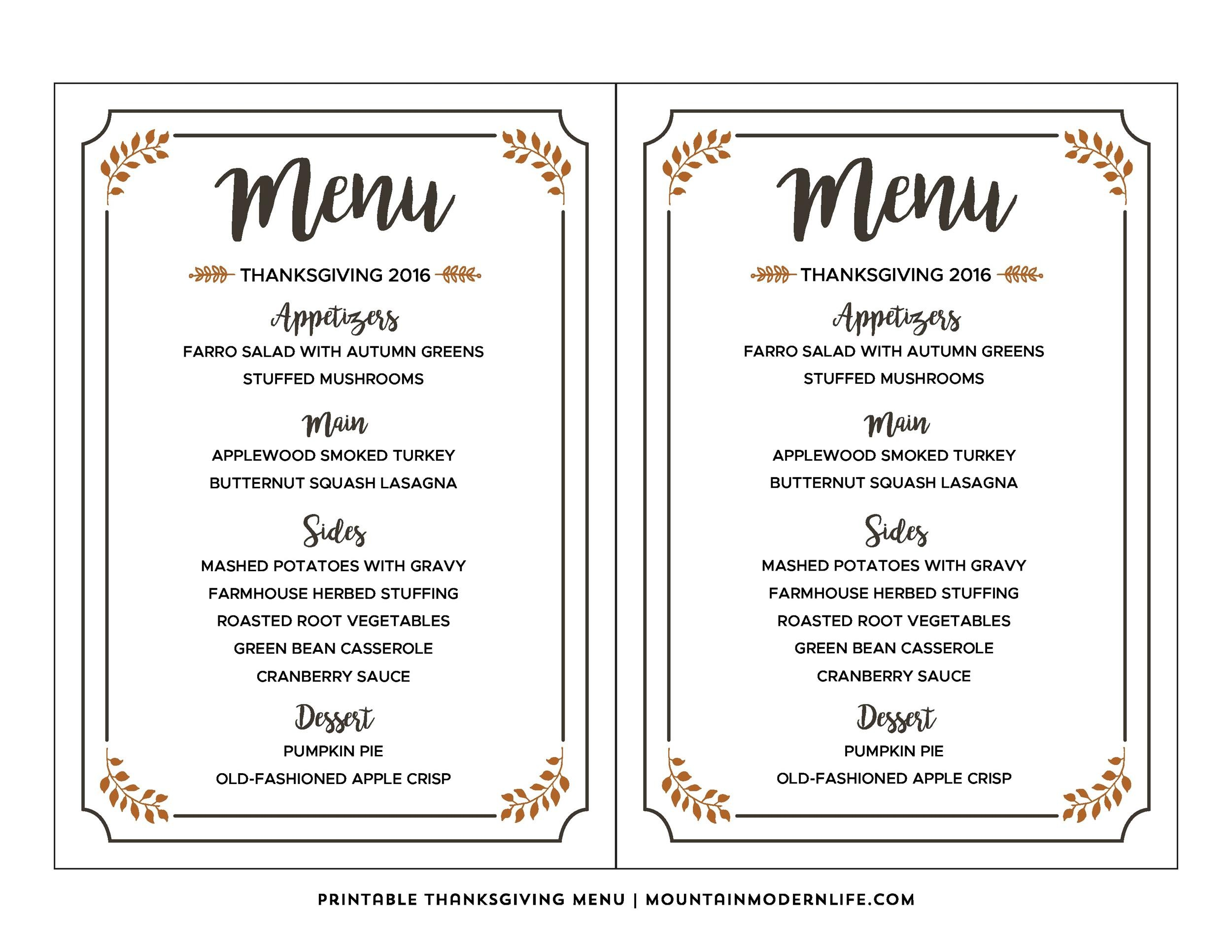 35 Awesome Thanksgiving Menu Templates ᐅ Template Lab