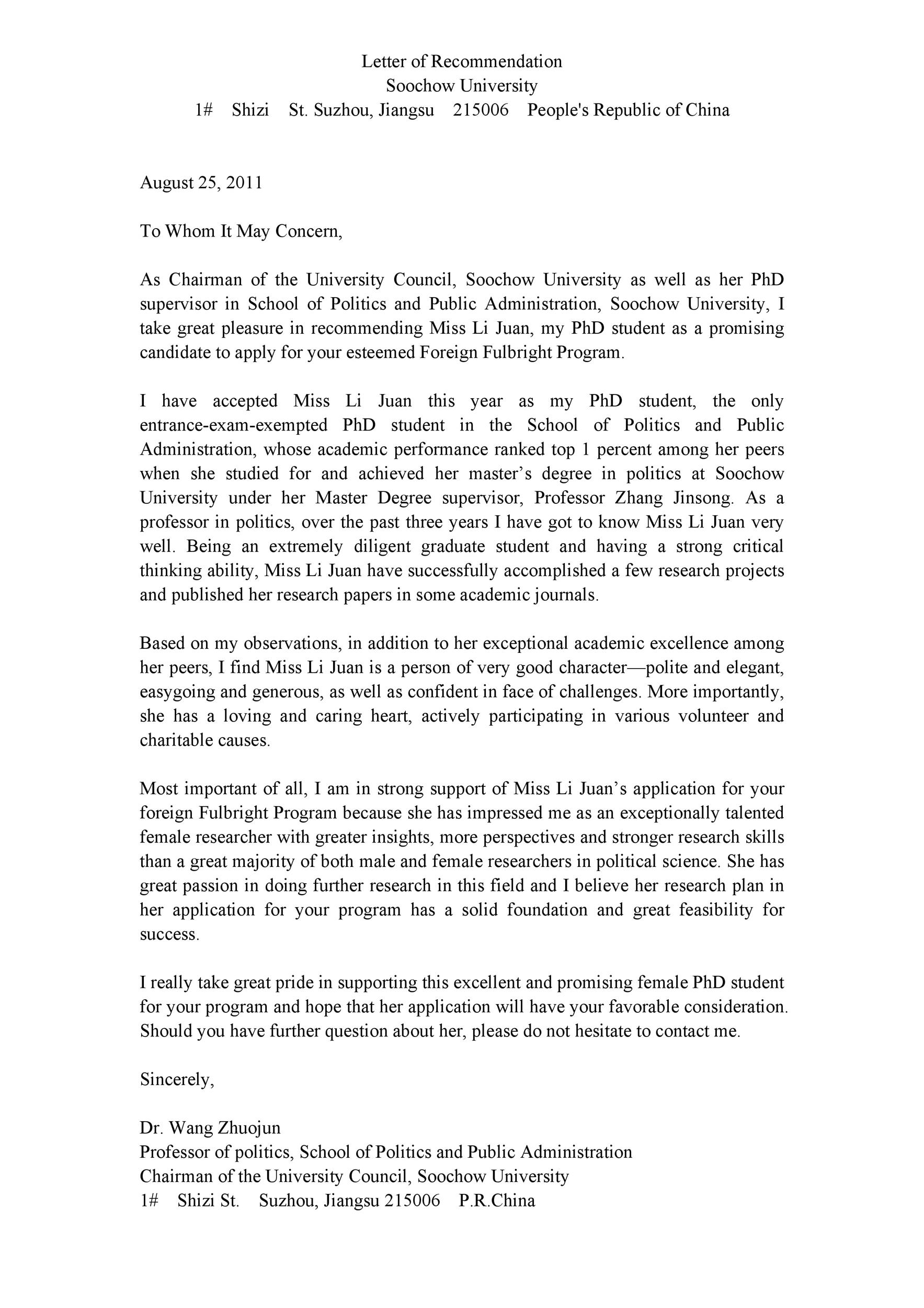 50 Amazing Recommendation Letters For Student From Teacher