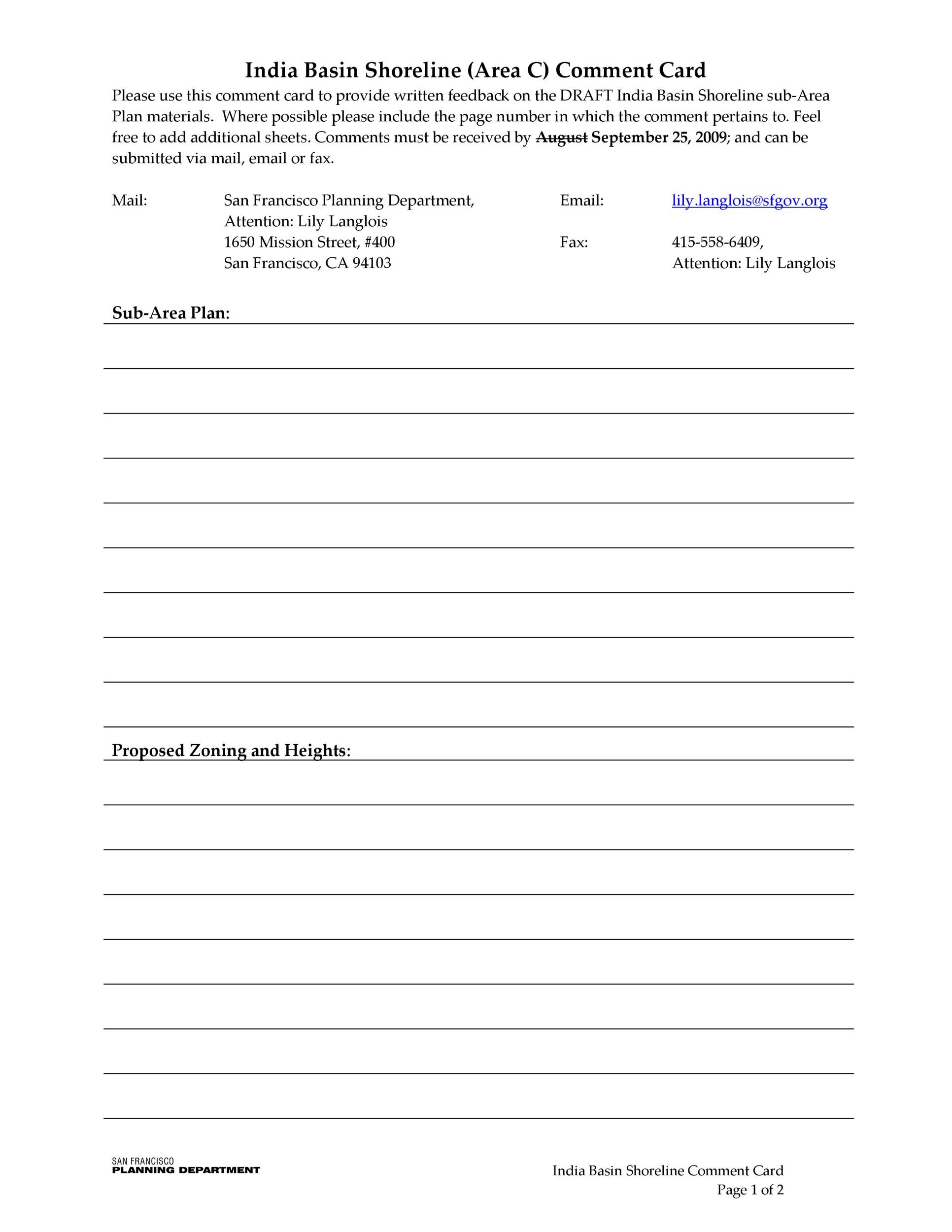 50 Printable Comment Card  Feedback Form Templates ᐅ Template Lab