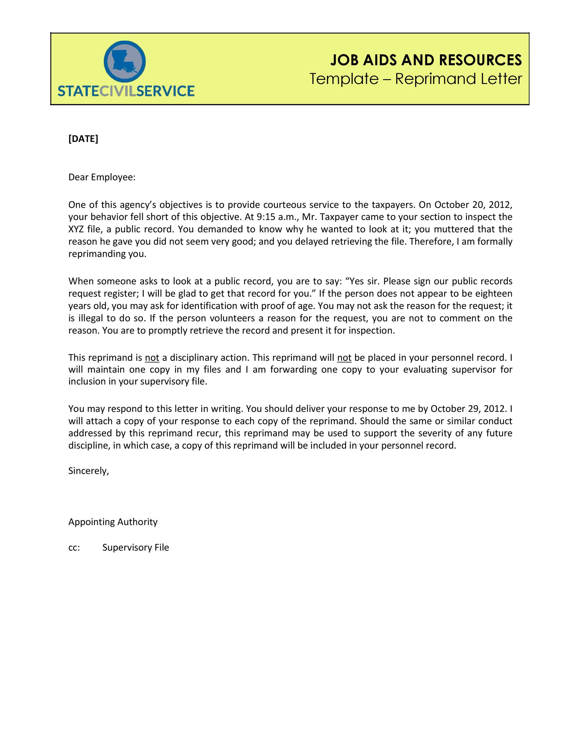 50 Effective Letters of Reprimand Templates (MS Word) ᐅ Template Lab