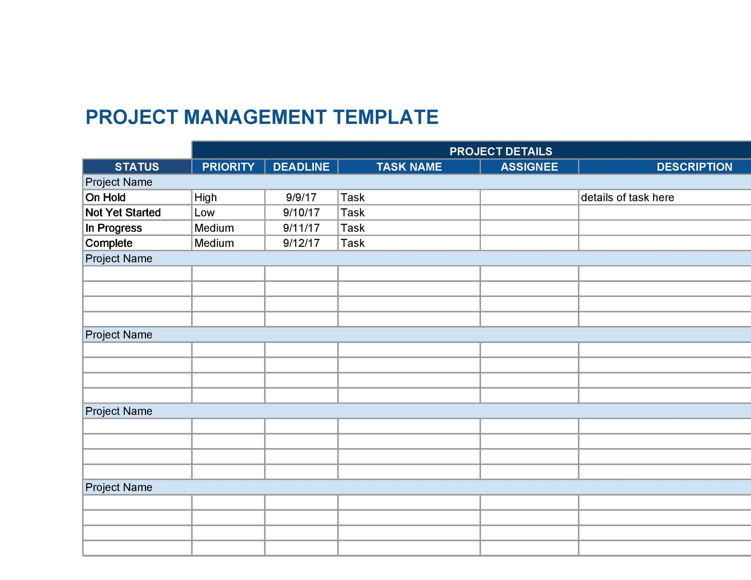 50 Free Multiple Project Tracking Templates Excel  Word ᐅ