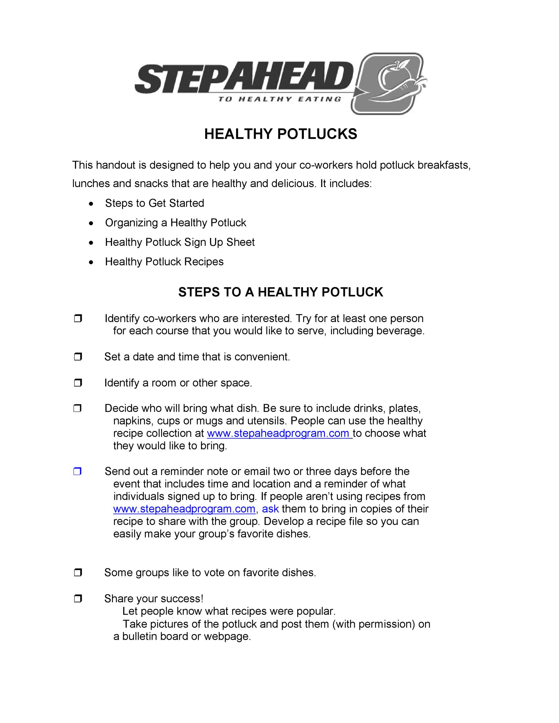 38 Best Potluck Sign-up Sheets (For Any Occasion) ᐅ Template Lab
