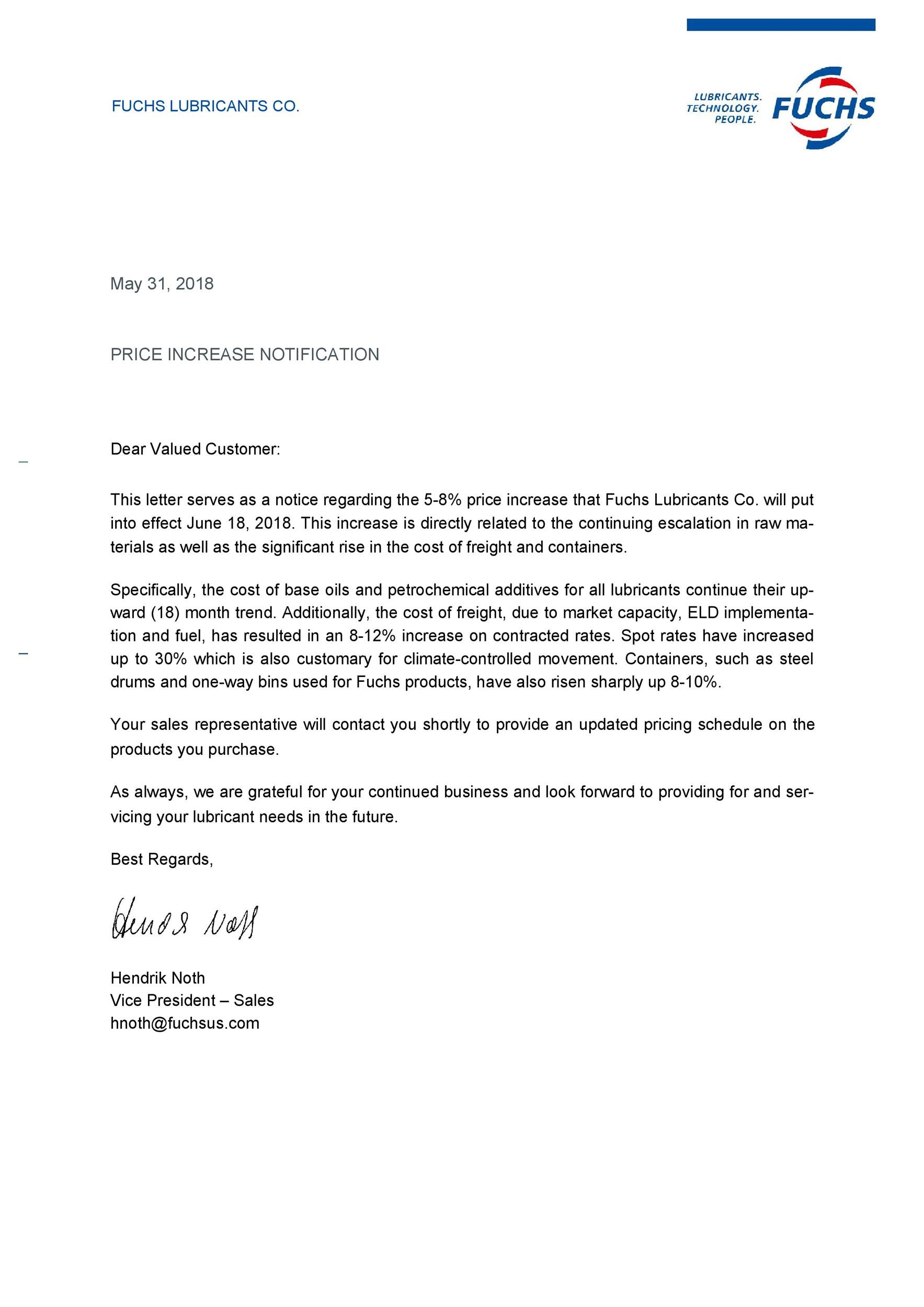 50 Effective Price / Rate Increase Letters (+Tips) ᐅ Template Lab