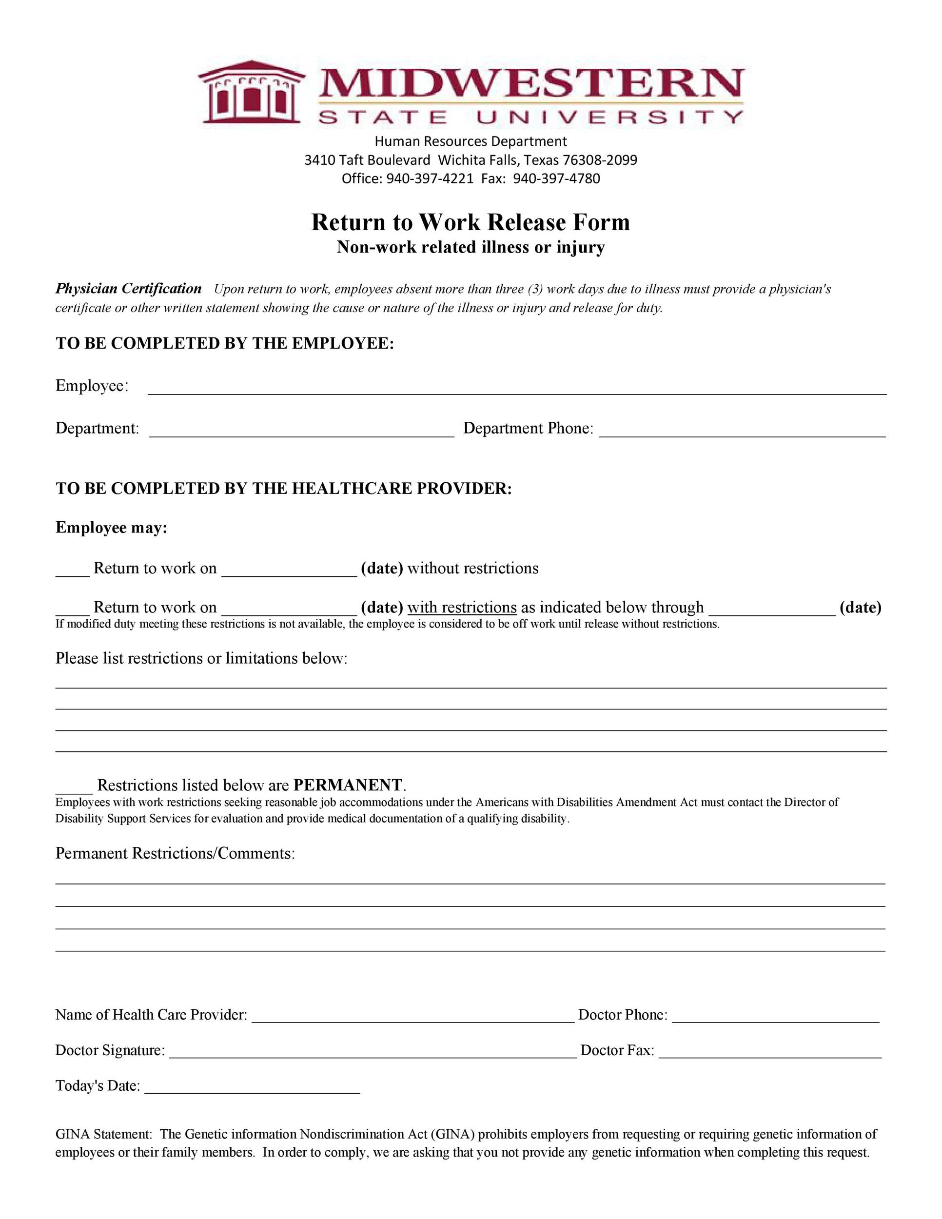 49 Best Return To Work  Work Release Forms ᐅ Template Lab