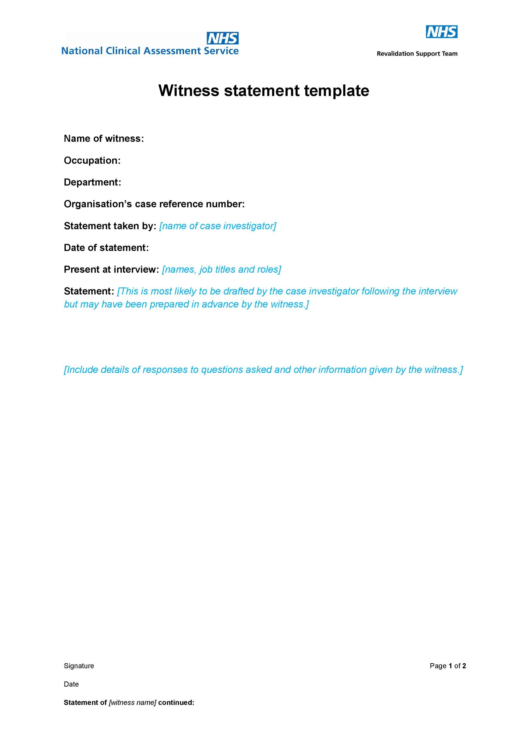 50 Professional Witness Statement Forms  Templates ᐅ Template Lab