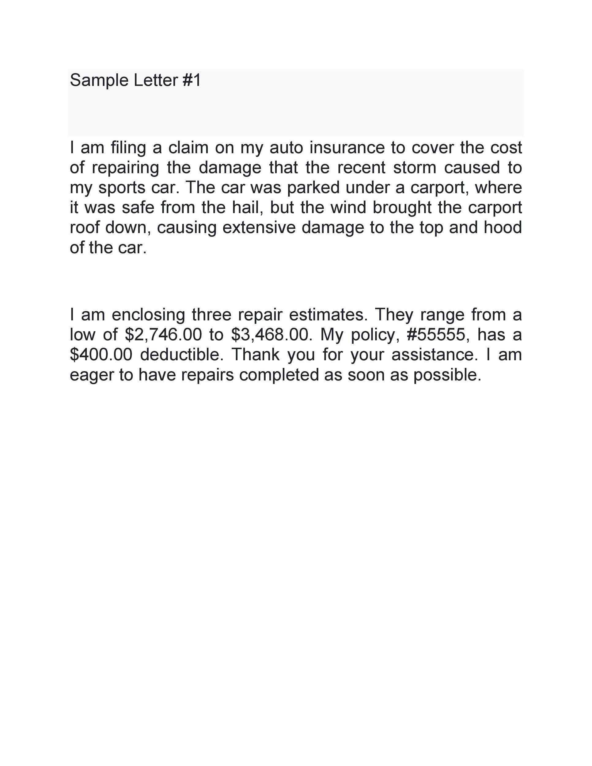 insurance claim letter template