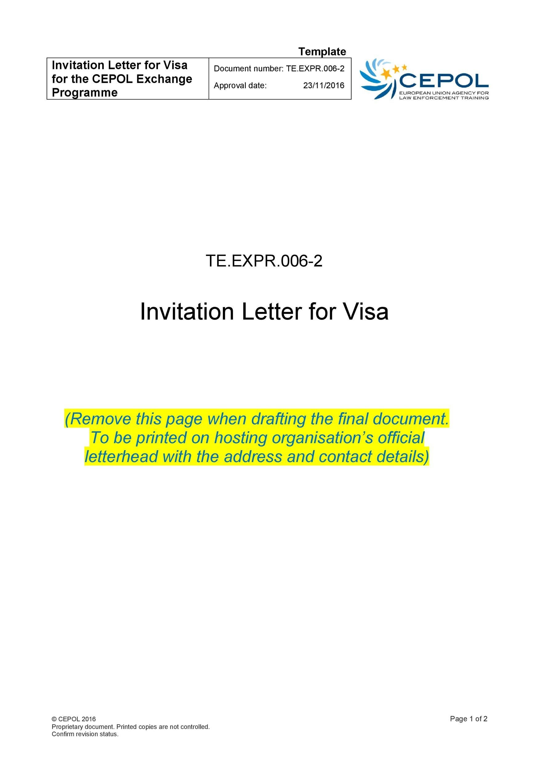 50 Best Invitation Letters (for Visa  General) ᐅ Template Lab