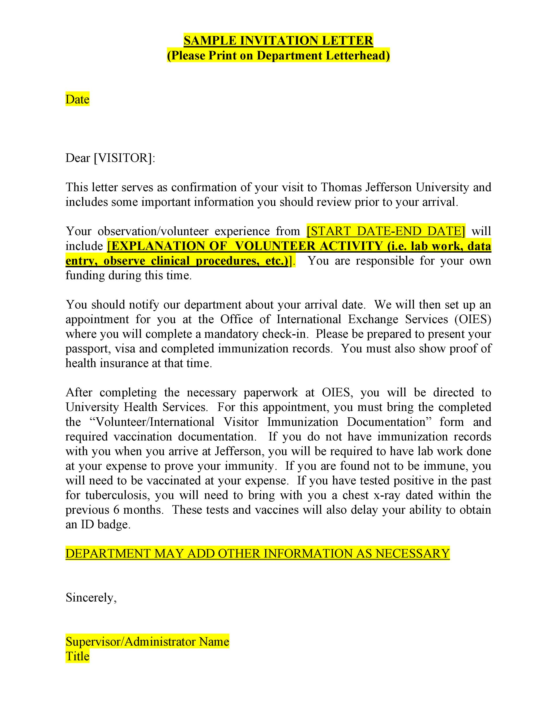 50 Best Invitation Letters (for Visa  General) ᐅ Template Lab
