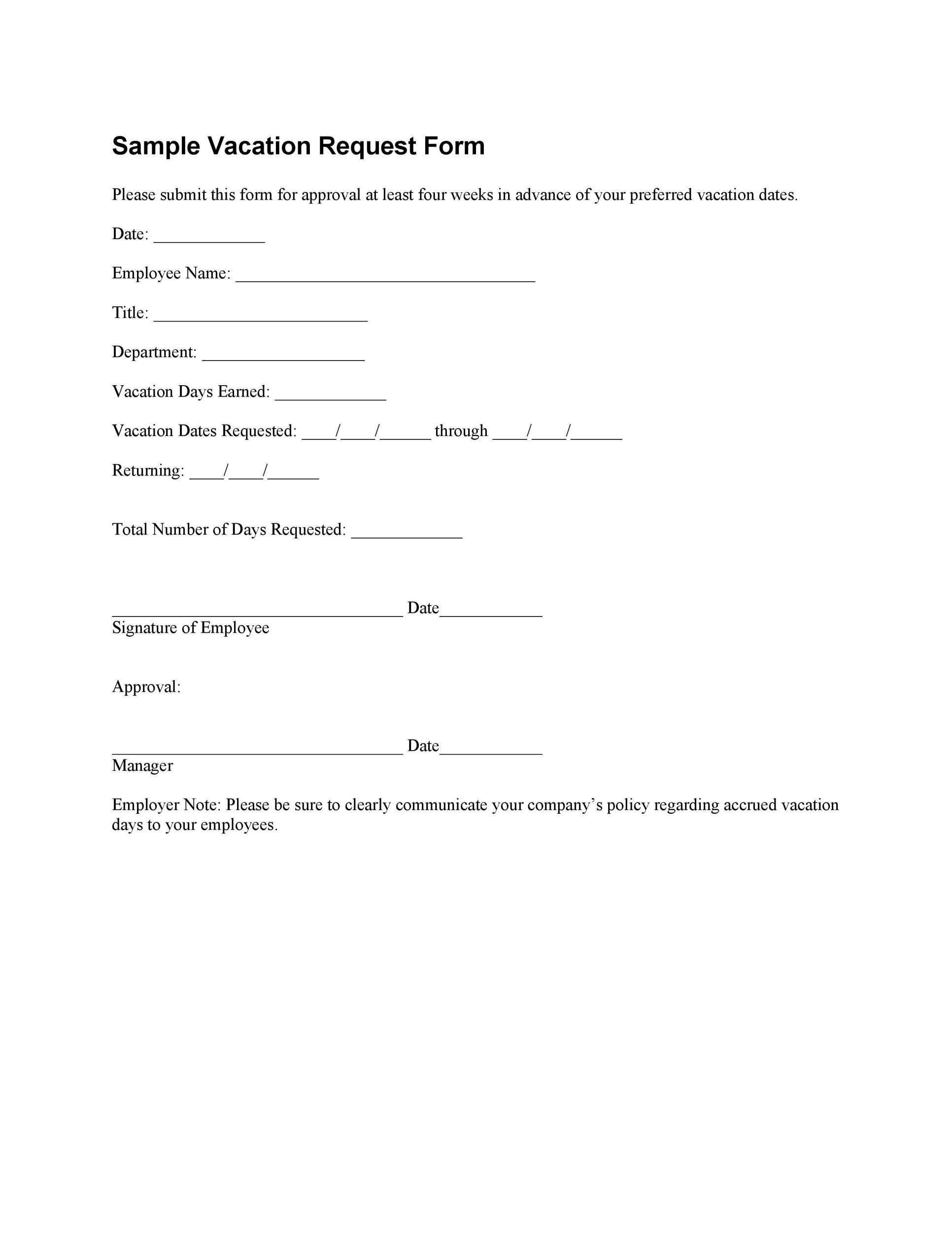 50 Professional Employee Vacation Request Forms Word ᐅ Template Lab