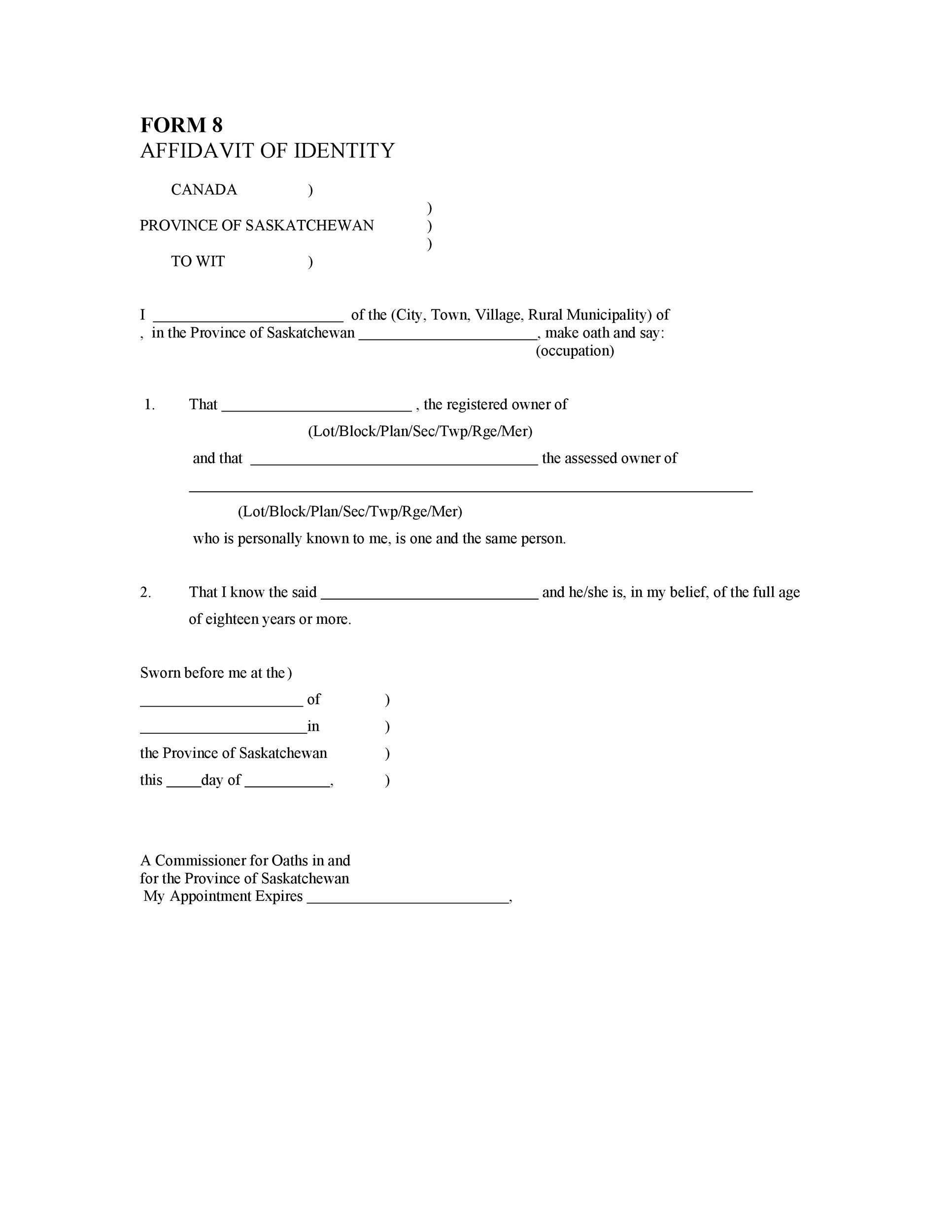 48 Free Affidavit of Identity Forms (MS Word) ᐅ Template Lab