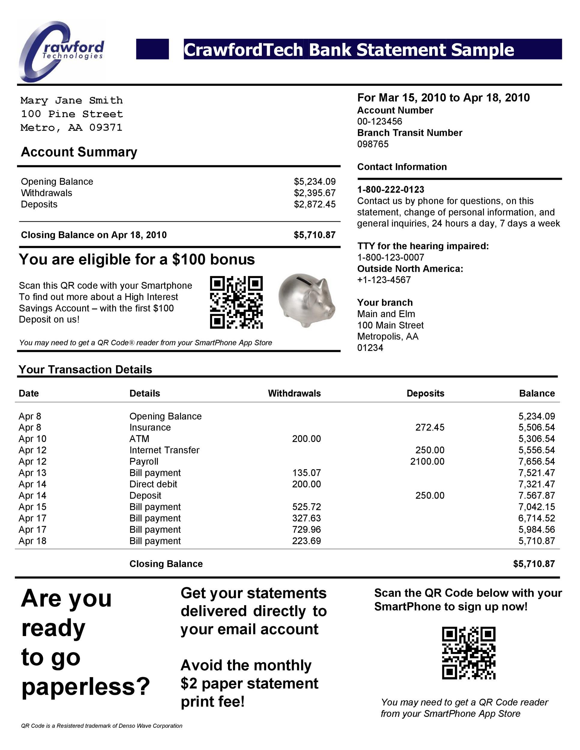 bank statements templates