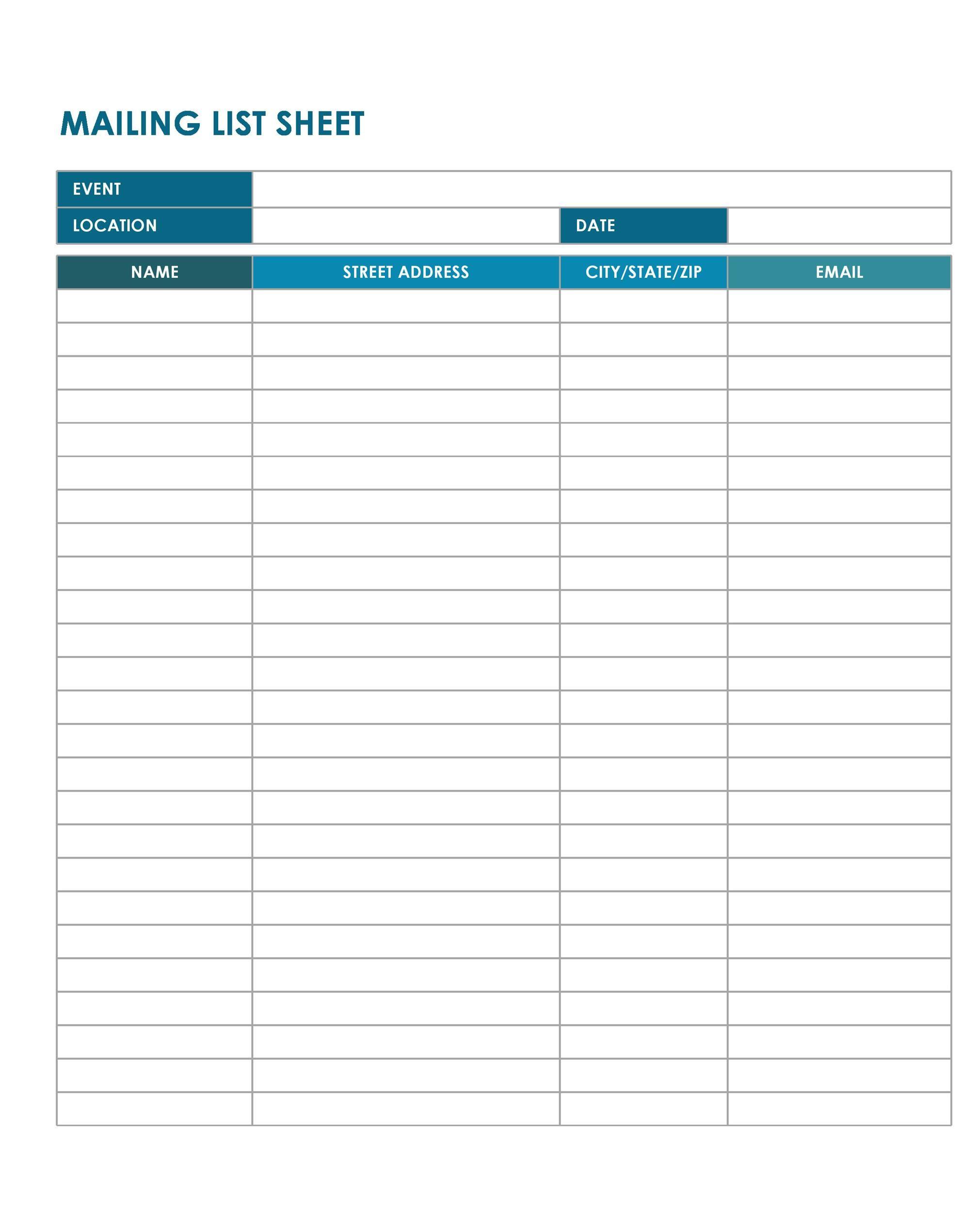 mailing list template word