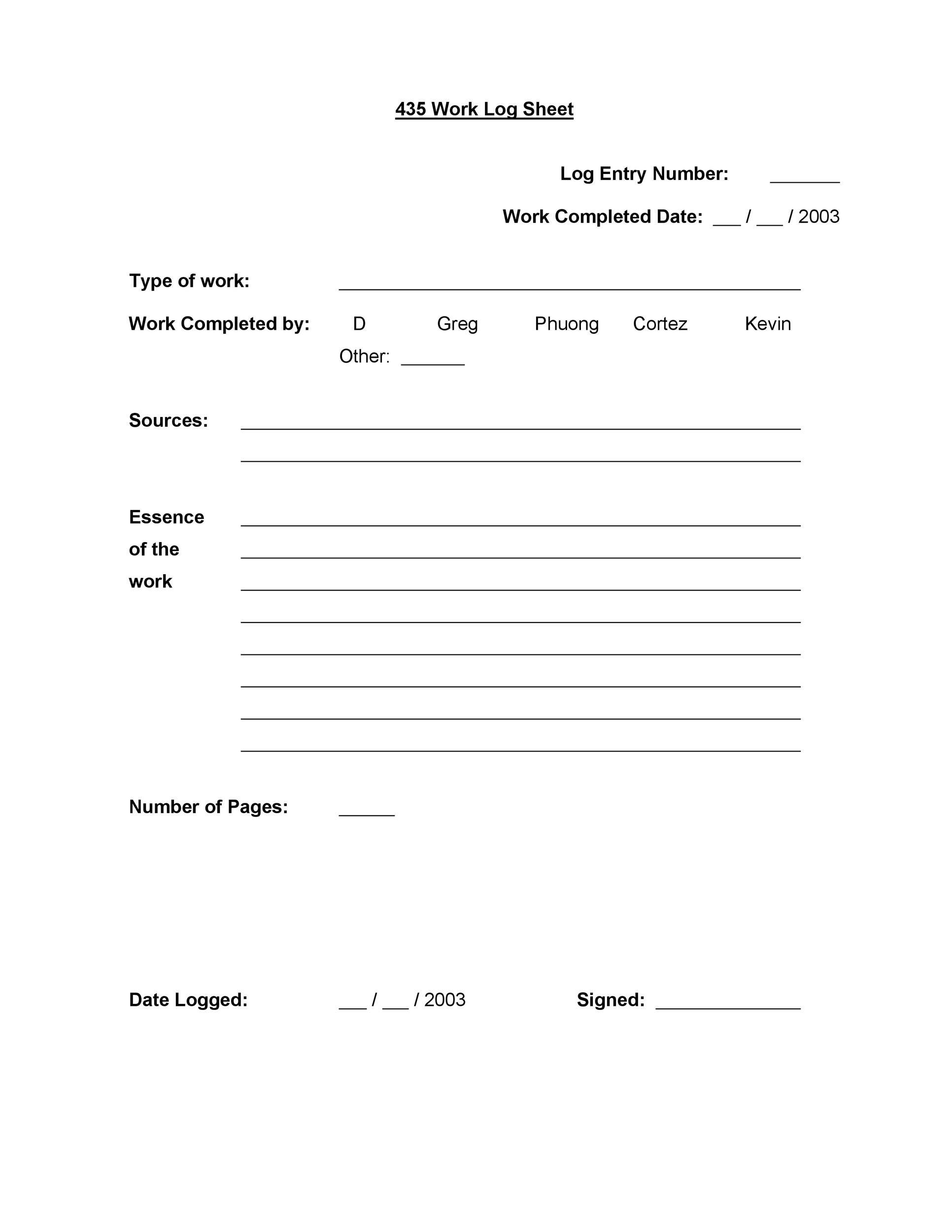50 Printable Log Sheet Templates Direct Download ᐅ Template Lab