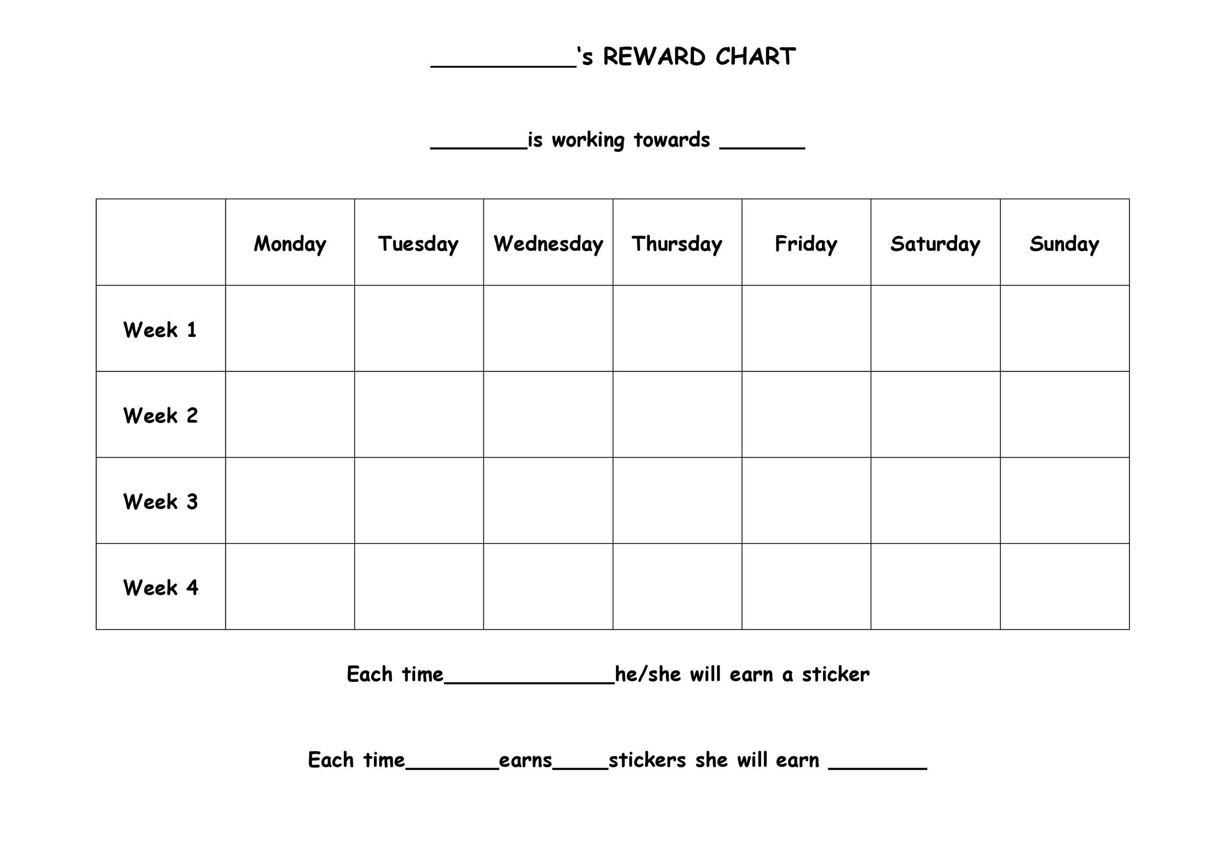 40 Printable Reward Charts for Kids (PDF, Excel  Word)