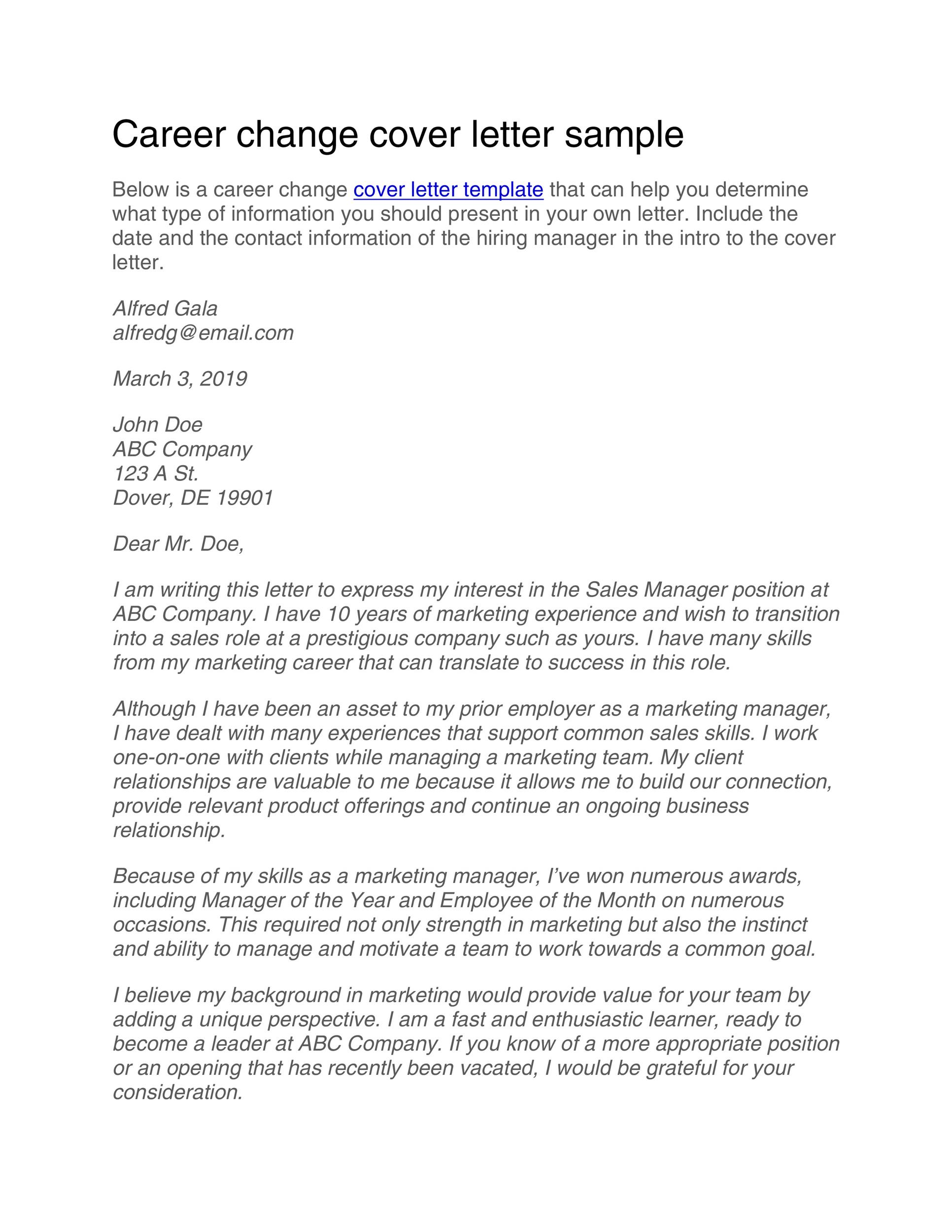 cover letter switching careers