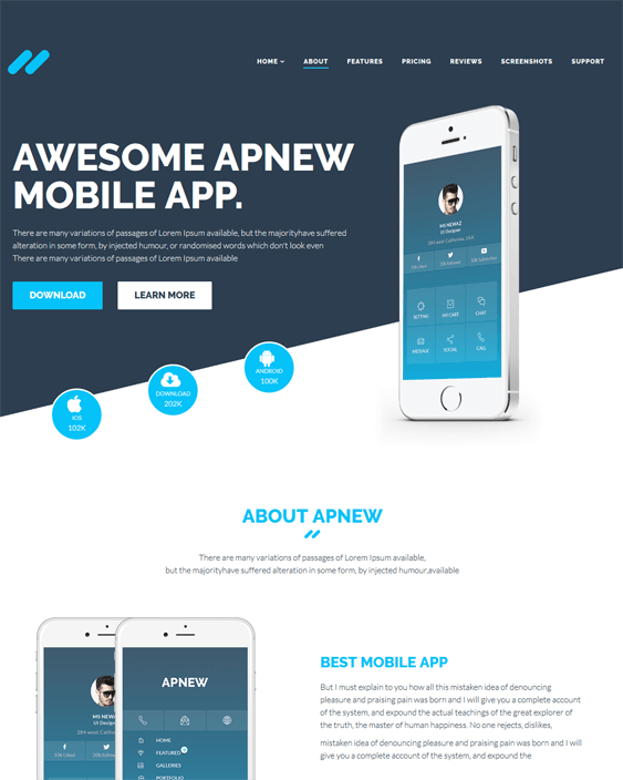 apnew joomla templates for promoting iphone android apps