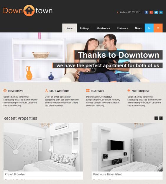 downtown real estate wordpress theme