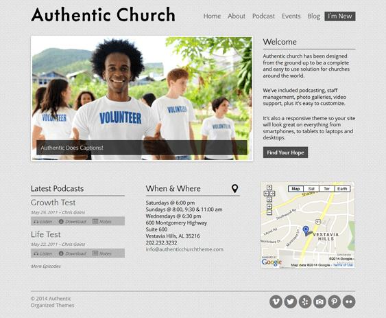 authentic church wordpress theme